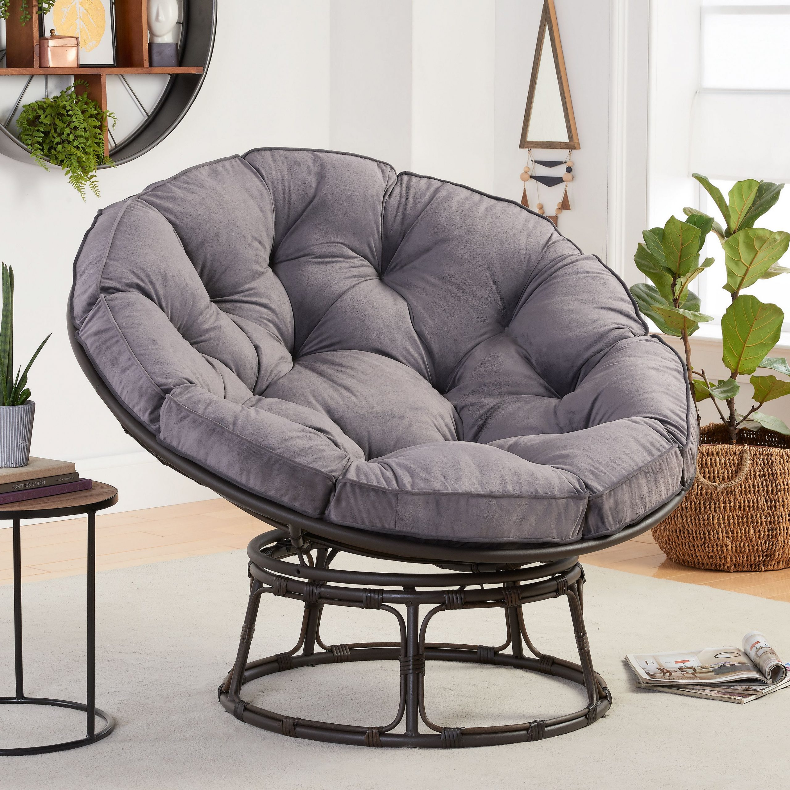 Better Homes & Gardens Papasan Chair With Fabric Cushion, Charcoal Gray – Walmart Intended For Trendy Decker Papasan Chairs (View 4 of 20)