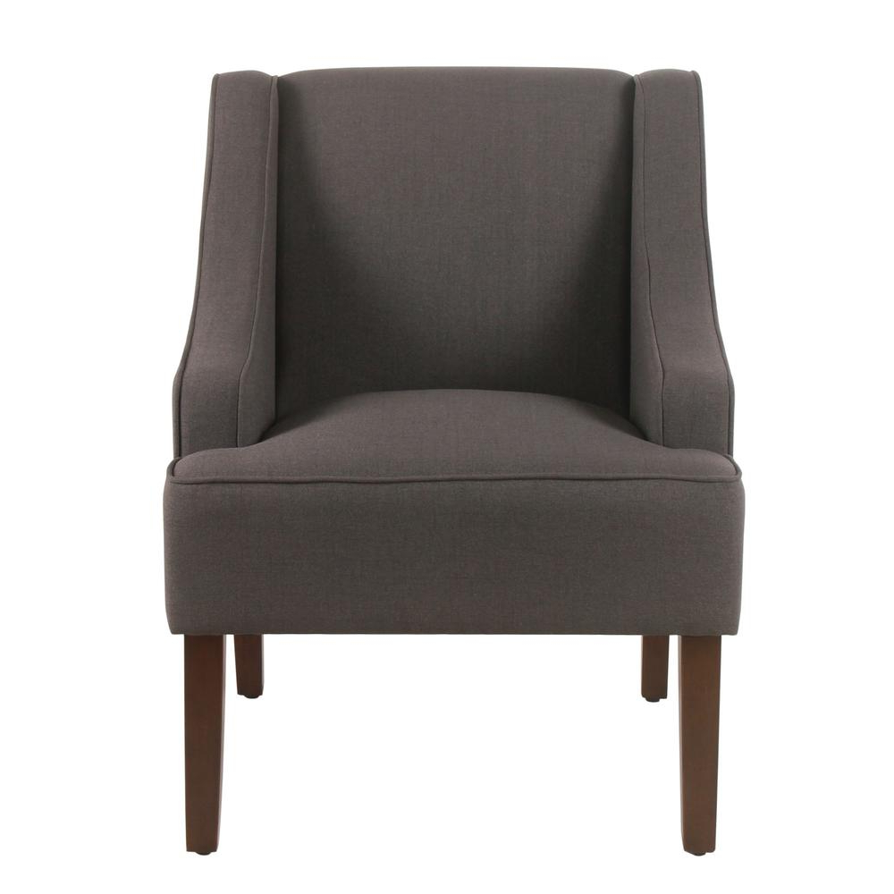 Biggerstaff Polyester Blend Armchairs Inside Trendy Linen Look Charcoal Gray Classic Swoop Arm Accent Chair, Dark Charcoal Gray  – Home Depot (View 15 of 20)