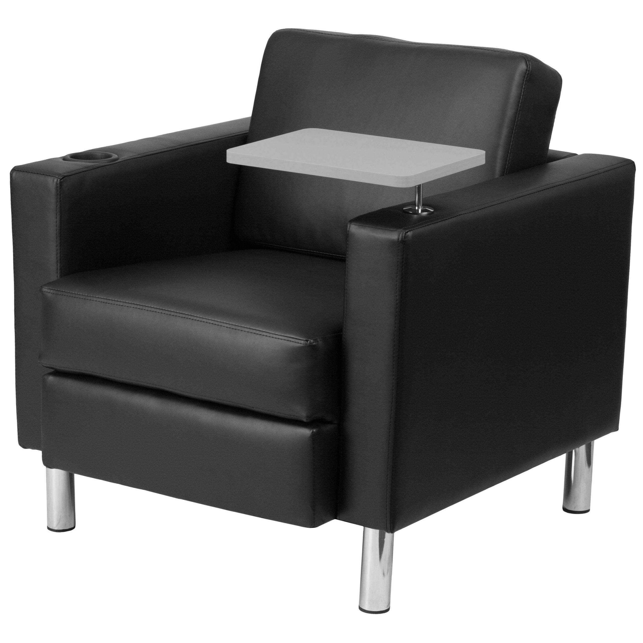 Black Leather Guest Chair With Tablet Arm, Tall Chrome Legs Regarding Popular Liam Faux Leather Barrel Chairs (View 19 of 20)