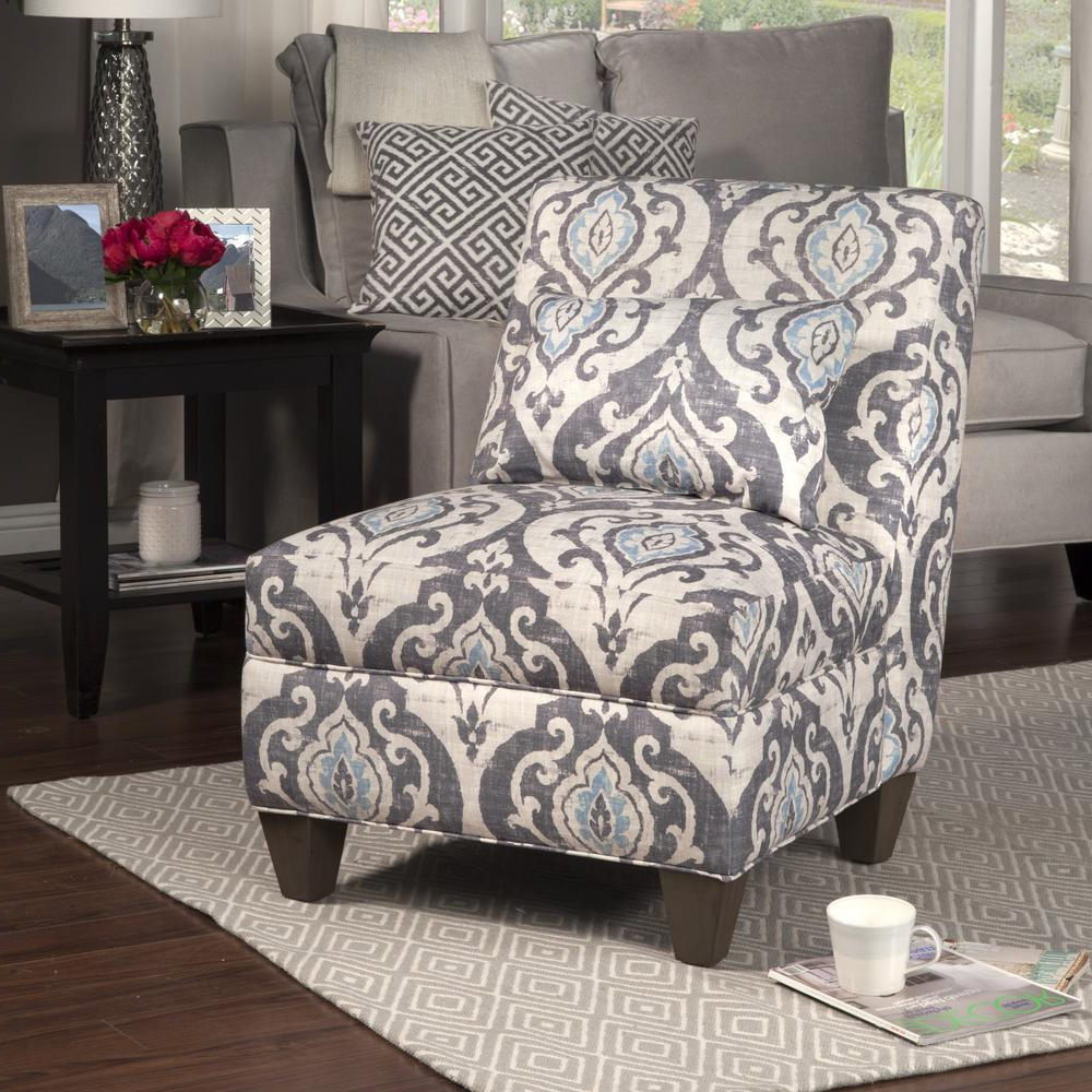 Blue And Cream Slate Large Accent Chair With Pillow, Blue/ivory – Home Depot Throughout Most Recently Released Waterton Wingback Chairs (View 14 of 20)