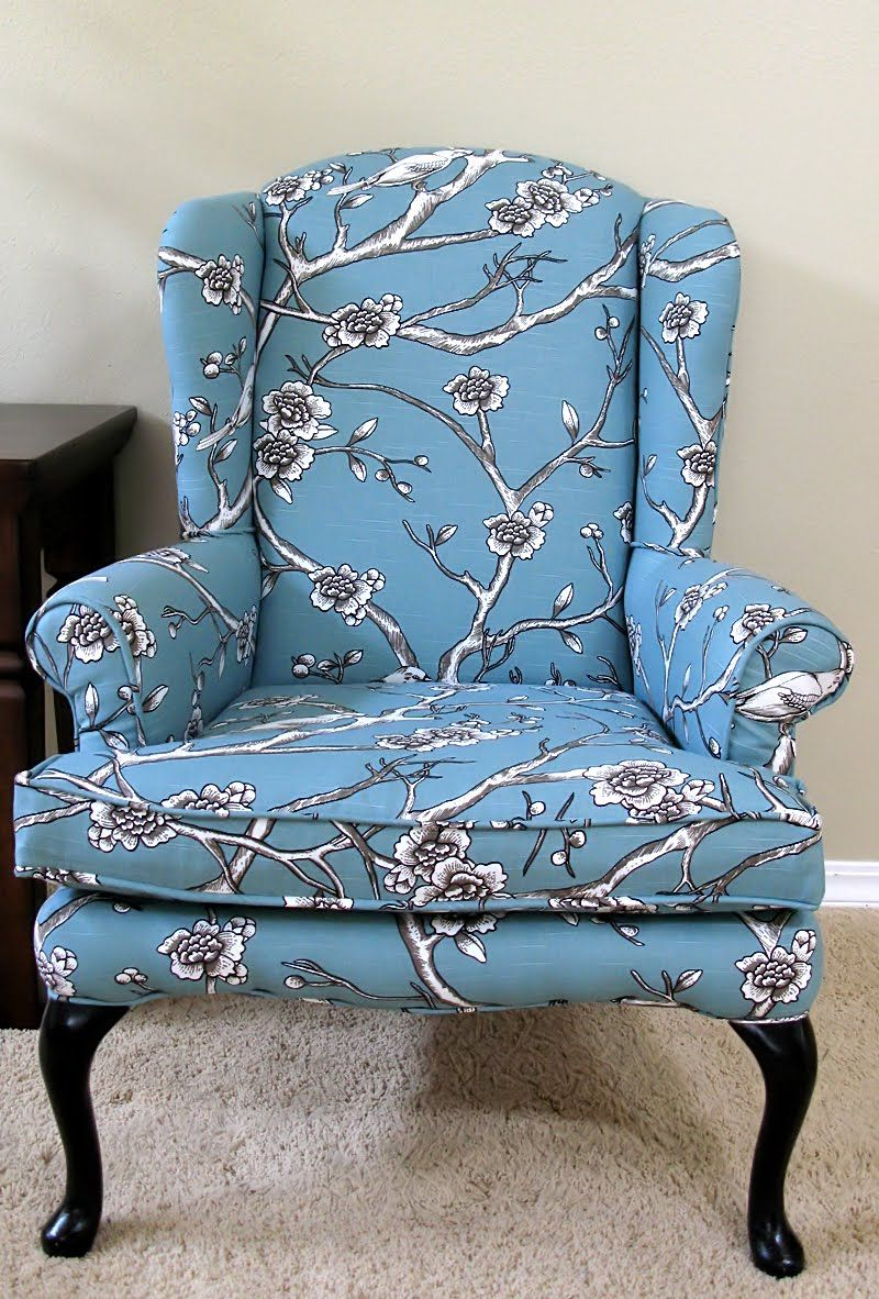 Blue Print Wingback Chair For Fashionable Waterton Wingback Chairs (View 20 of 20)