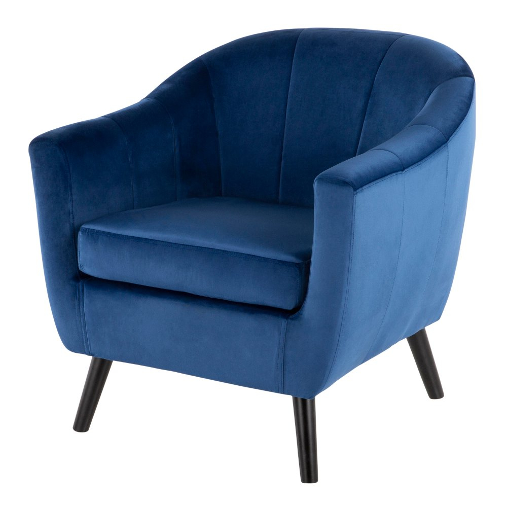 Blue Velvet Contemporary Accent Chair – Rockwell (View 16 of 20)