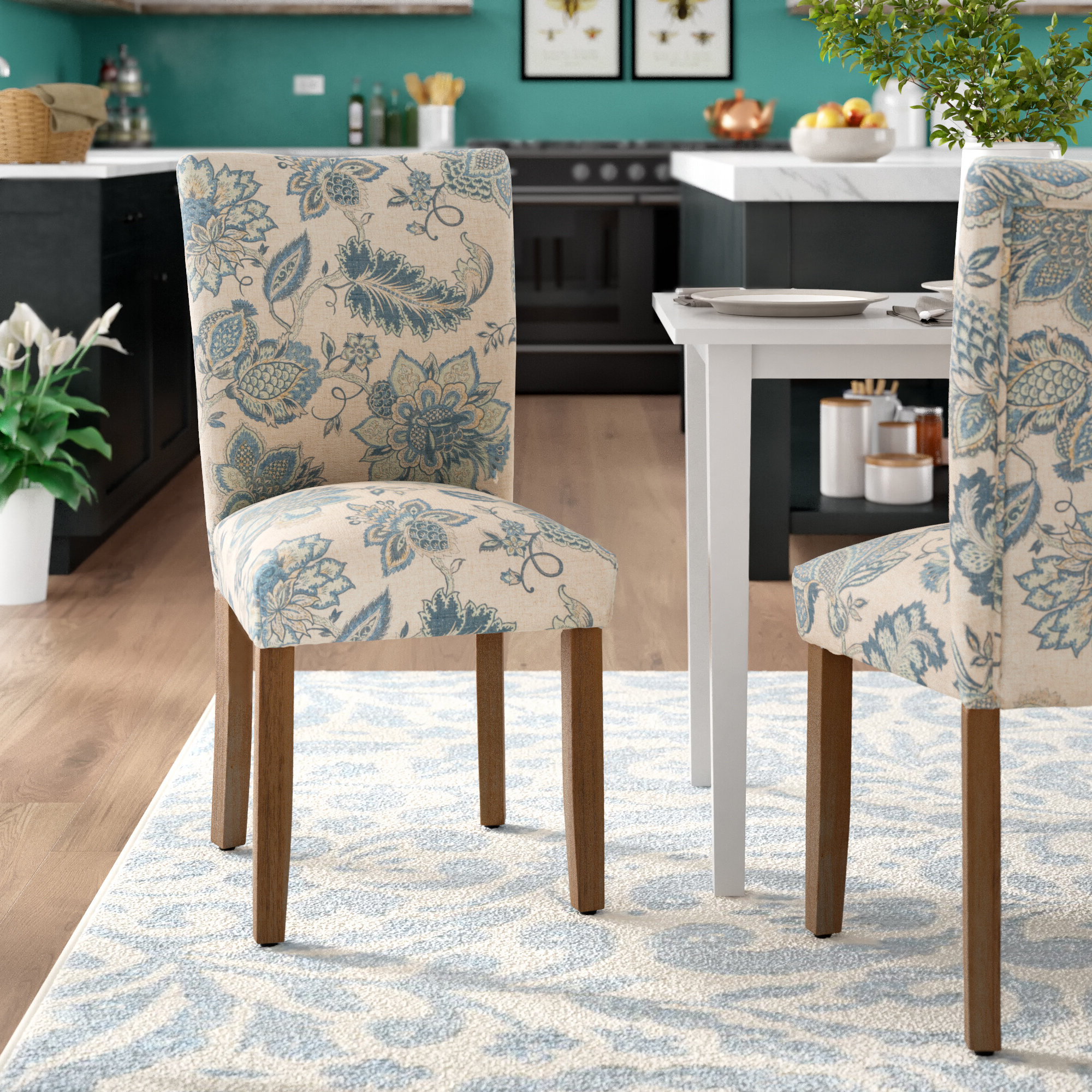 Bob Stripe Upholstered Dining Chairs (set Of 2) Regarding Most Recent August Grove® Gaillard Upholstered Parsons Chair In Tan/blue (View 18 of 20)