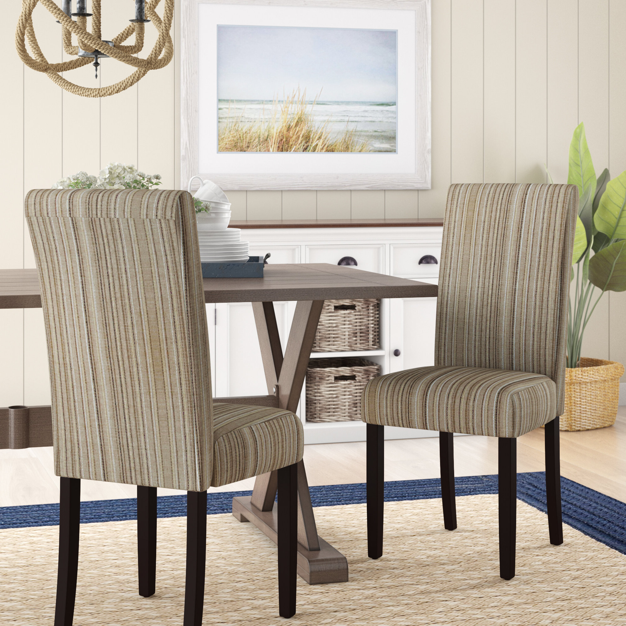 Bob Stripe Upholstered Dining Chairs (set Of 2) Throughout Newest Coastal Parsons Kitchen & Dining Chairs You'll Love In (View 4 of 20)