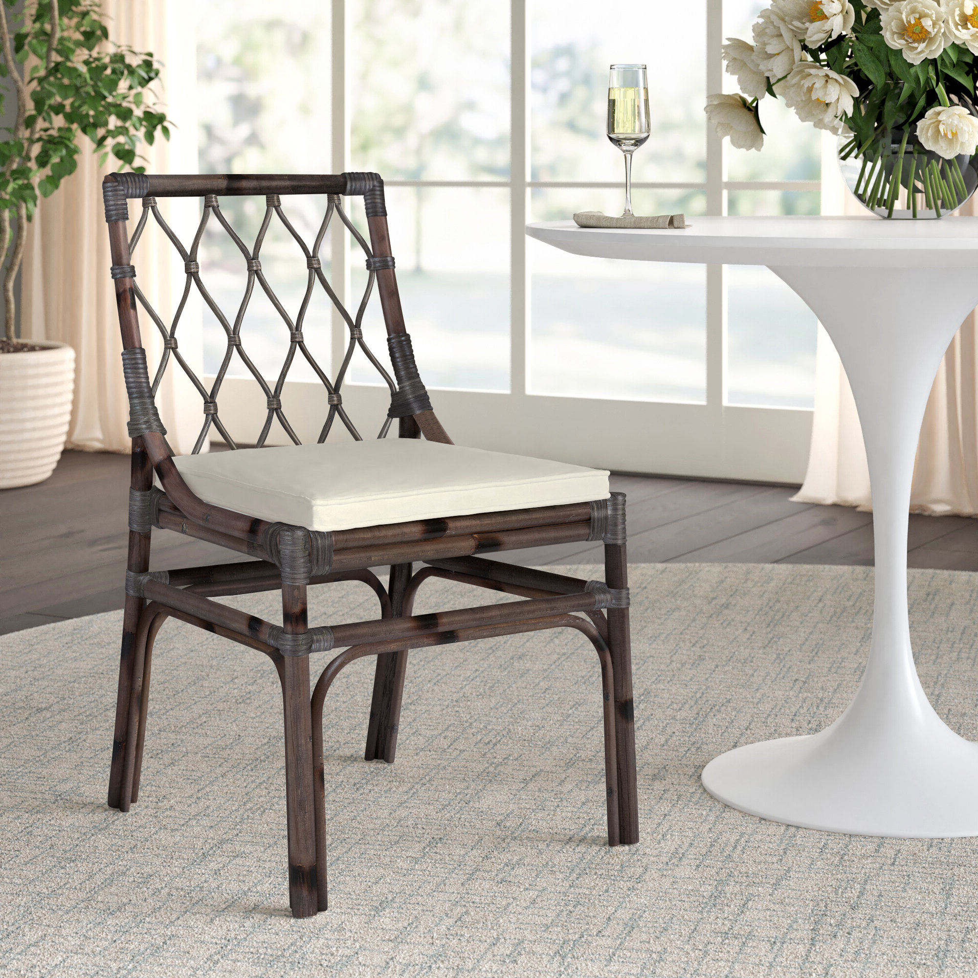 Bob Stripe Upholstered Dining Chairs (set Of 2) With Well Known Upholstered Cross Back Side Chair (View 12 of 20)
