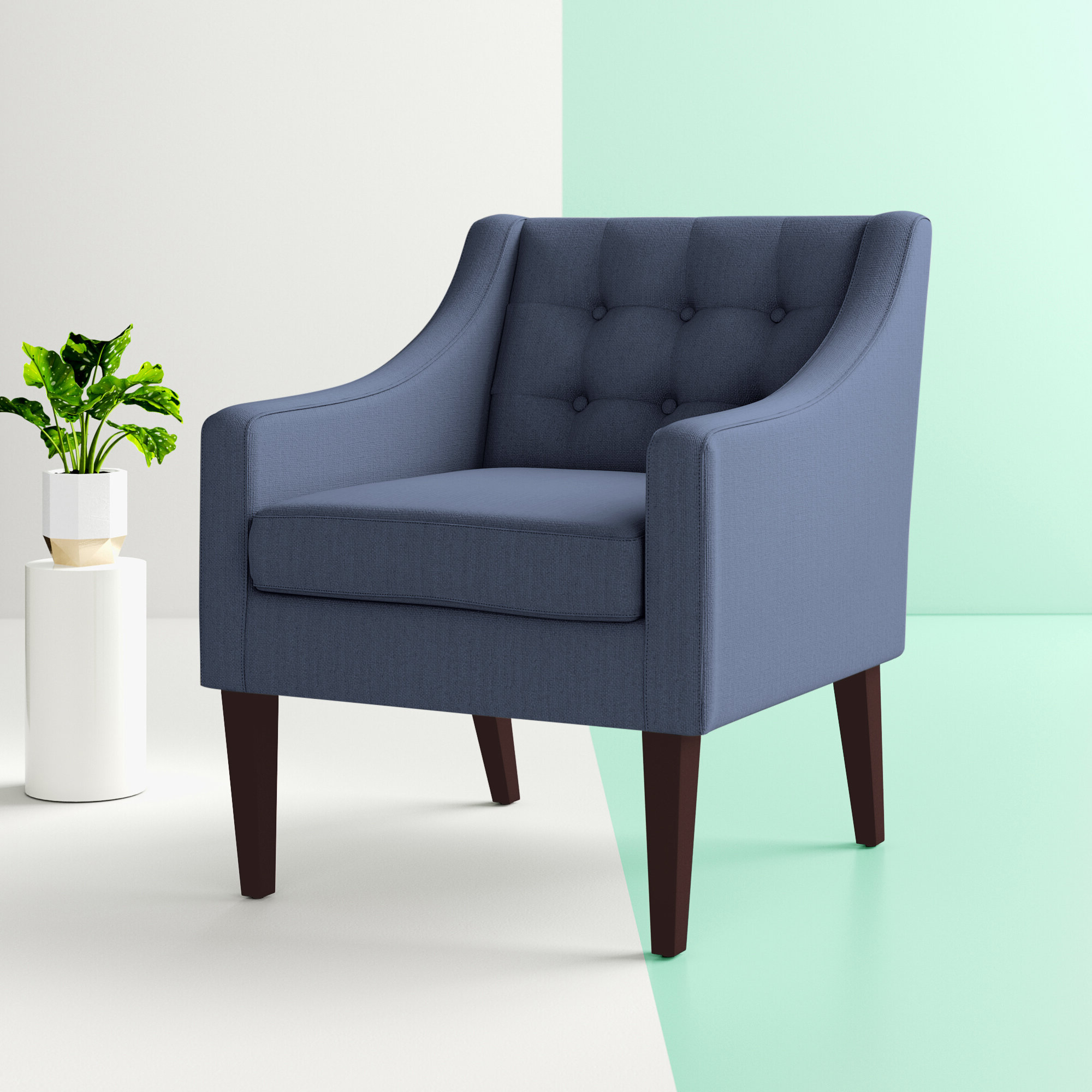 """Borst Armchairs Regarding Latest Hashtag Home Clopton 26"""" W Tufted Polyester Armchair (View 3 of 20)"""