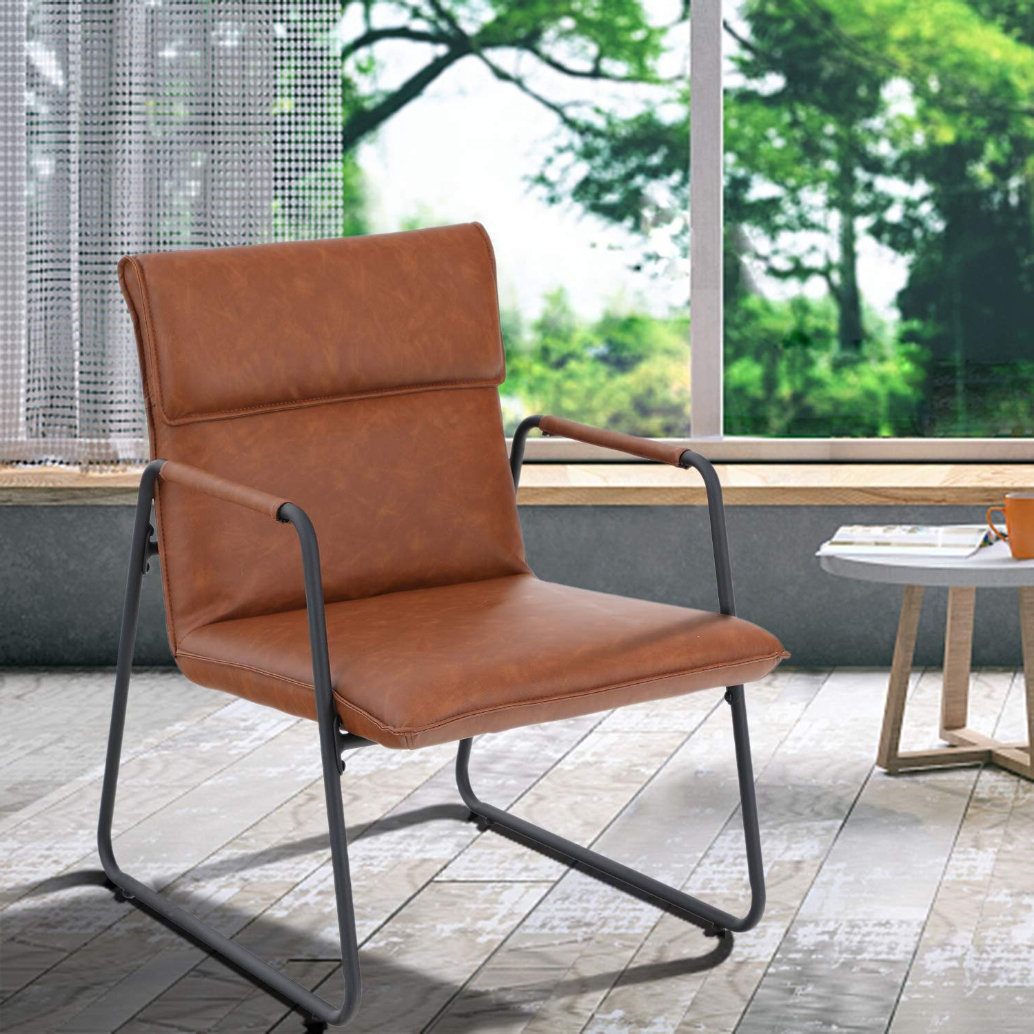 Broadus Genuine Leather Suede Side Chairs With Best And Newest Brown Leather Accent Chairs You'll Love In (View 6 of 20)