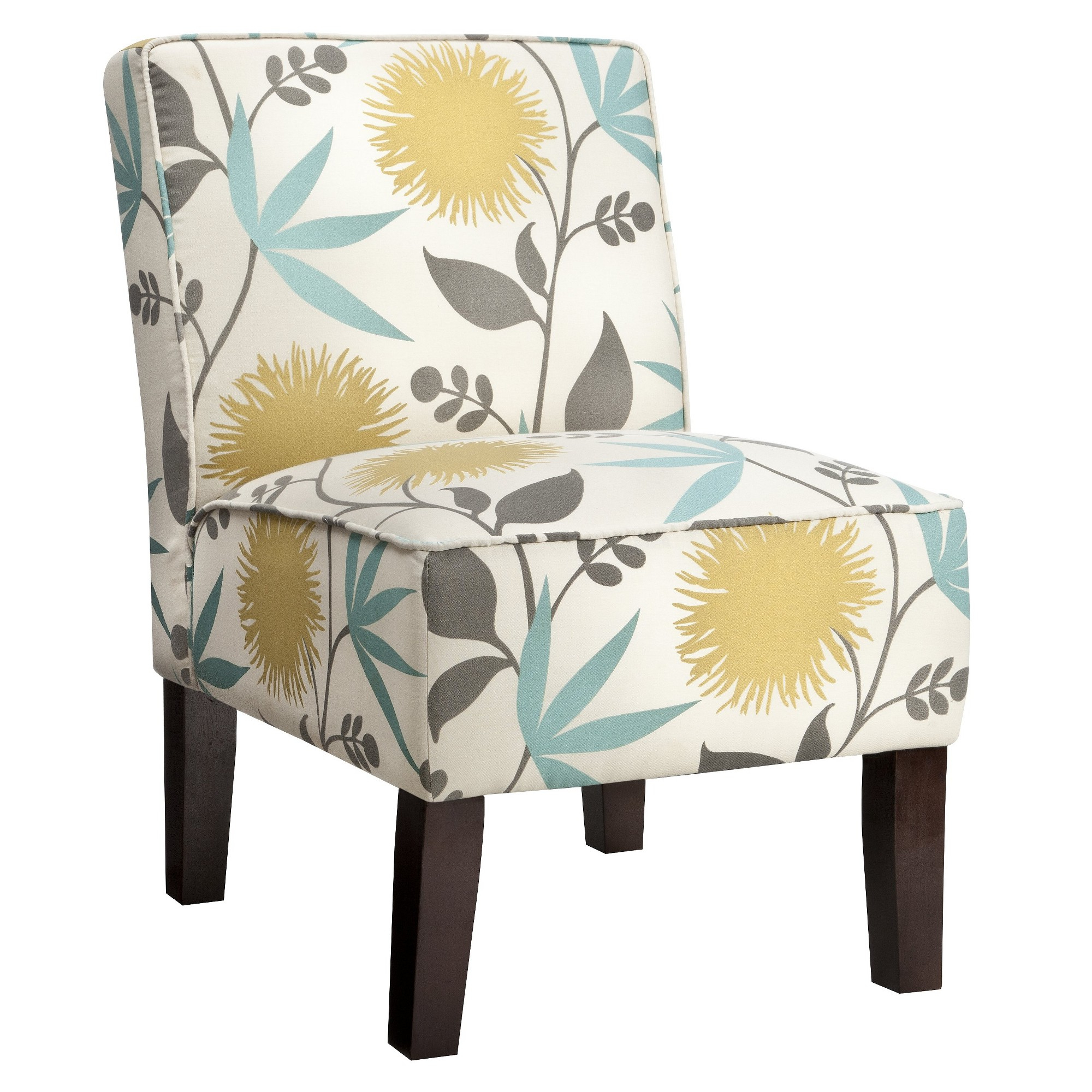Burke Accent Print Slipper Chair – Polly Aegean Regarding Recent Armless Upholstered Slipper Chairs (View 3 of 20)