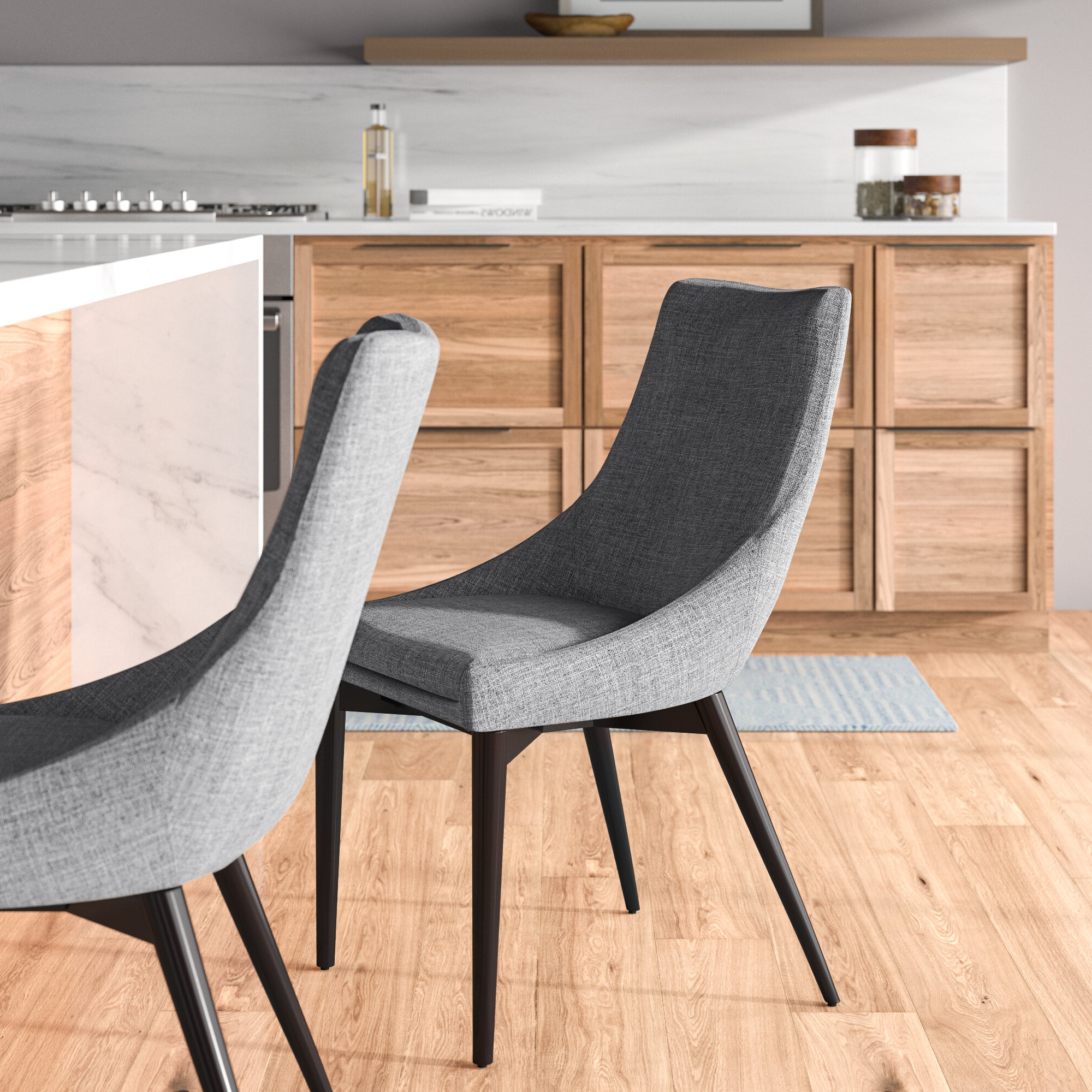 Carlton Wood Leg Upholstered Dining Chairs In Latest Mercury Row Cade Linen Upholstered Dining Chair (View 9 of 20)