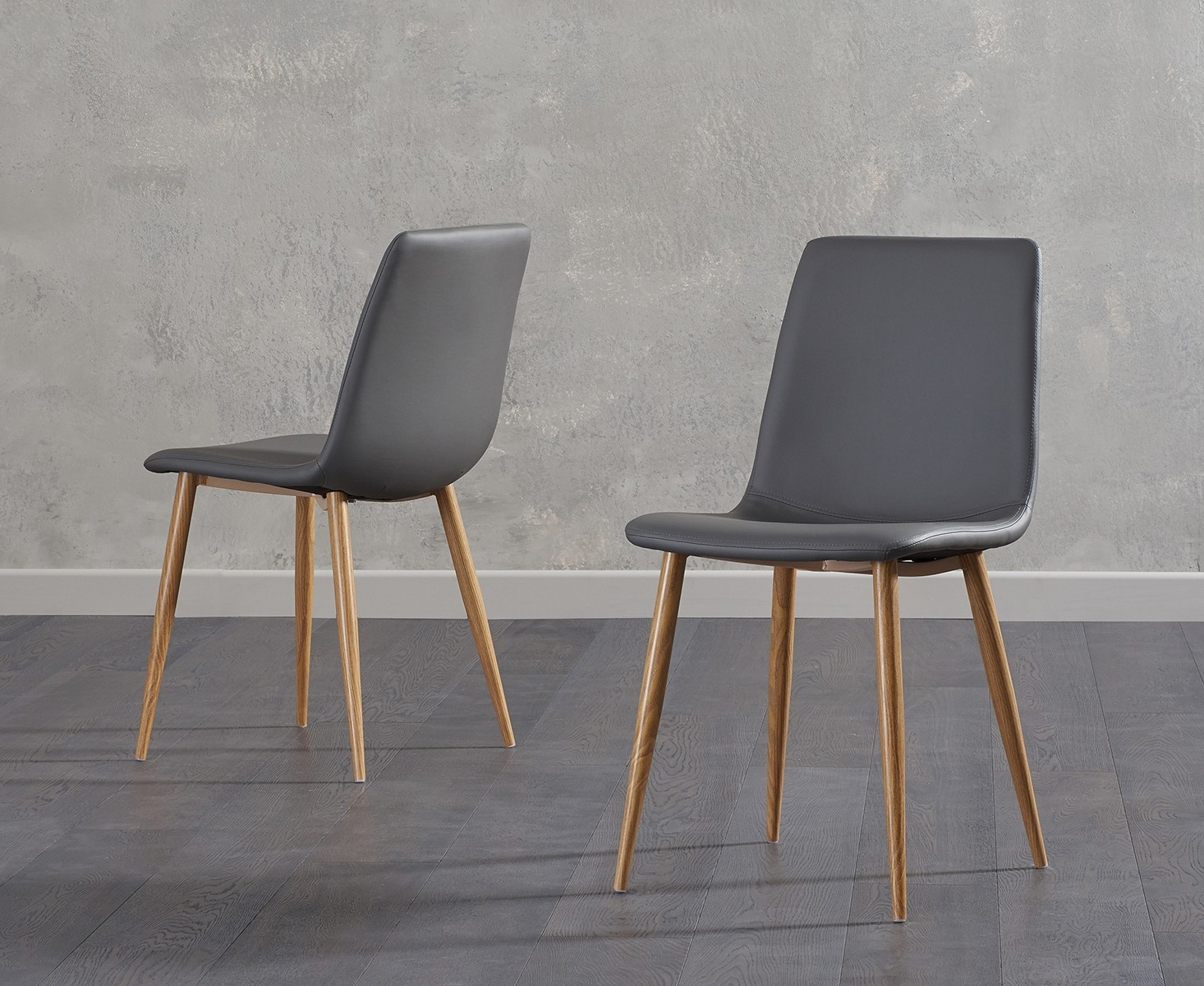 Carlton Wood Leg Upholstered Dining Chairs With Newest Mark Harris Hatfield Grey Faux Leather Dining Chair With Wooden Legs (pair)  – Cfs Furniture Uk (View 7 of 20)