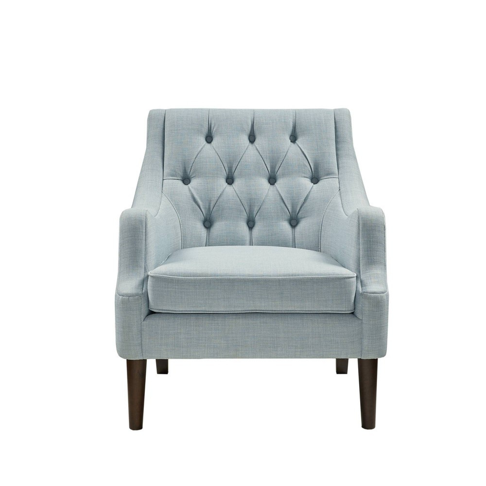 Cassie Button Tufted Accent Chair Dusty Blue – Target For Fashionable Lenaghan Wingback Chairs (View 9 of 20)