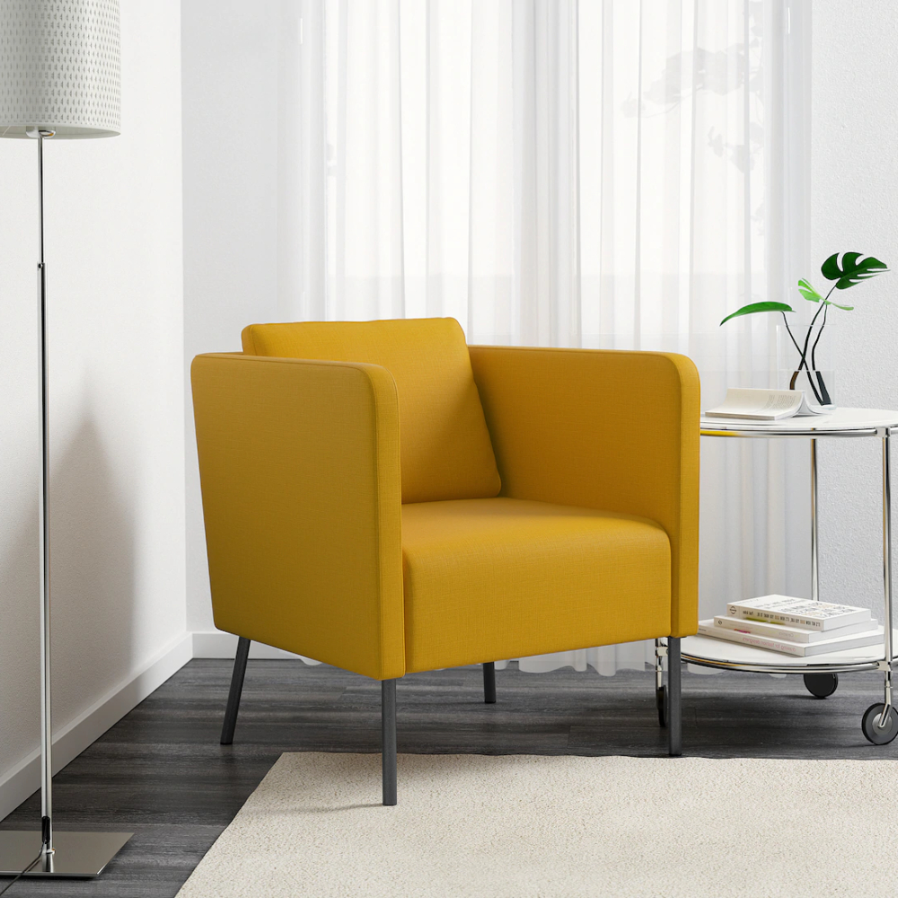 Chaithra Barrel Chair And Ottoman Sets Inside Fashionable Ekerö Fauteuil, Skiftebo Jaune – Ikea (View 19 of 20)