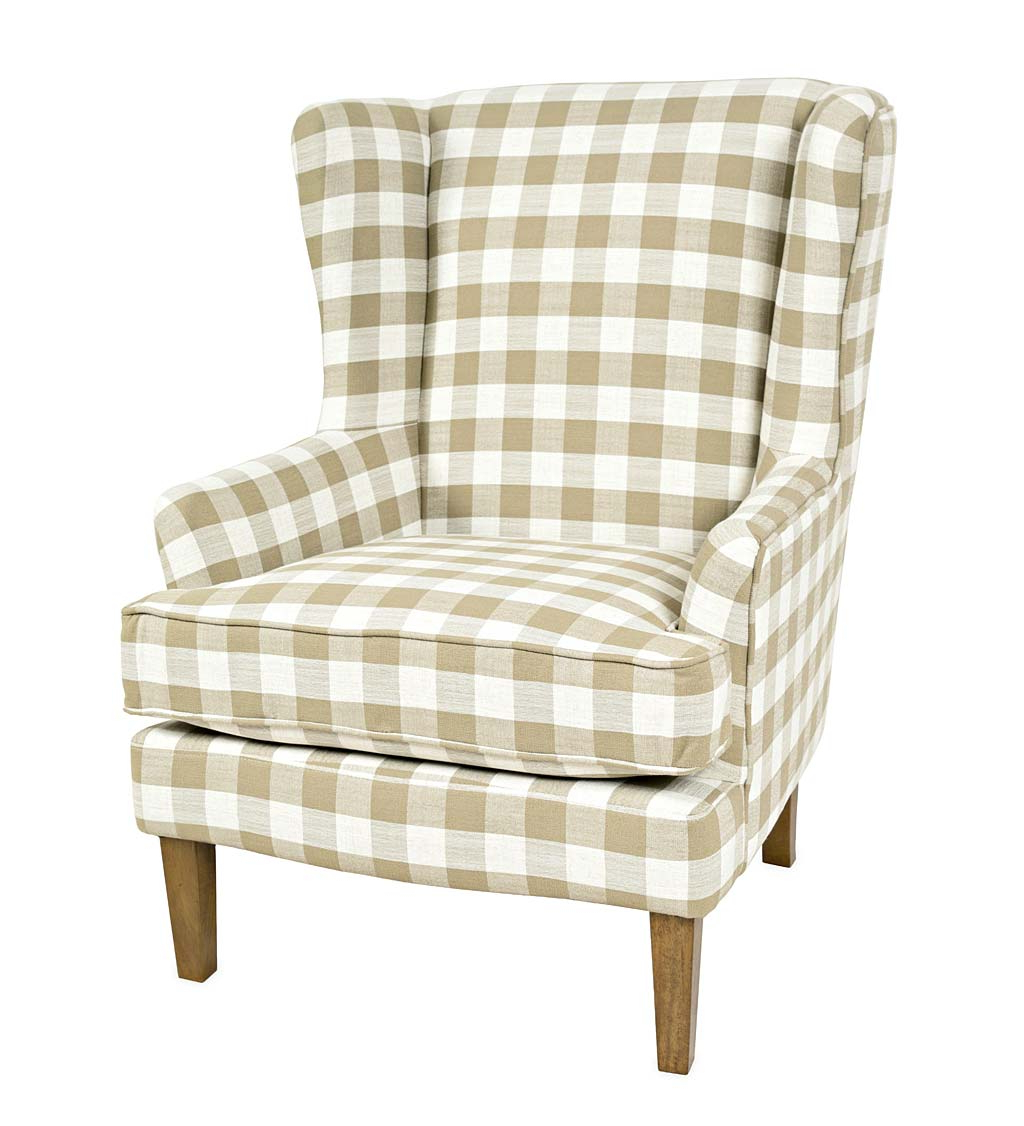 Classic Ticking Stripe Upholstered Club Chair – Flax Regarding Famous Sweetwater Wingback Chairs (View 18 of 20)