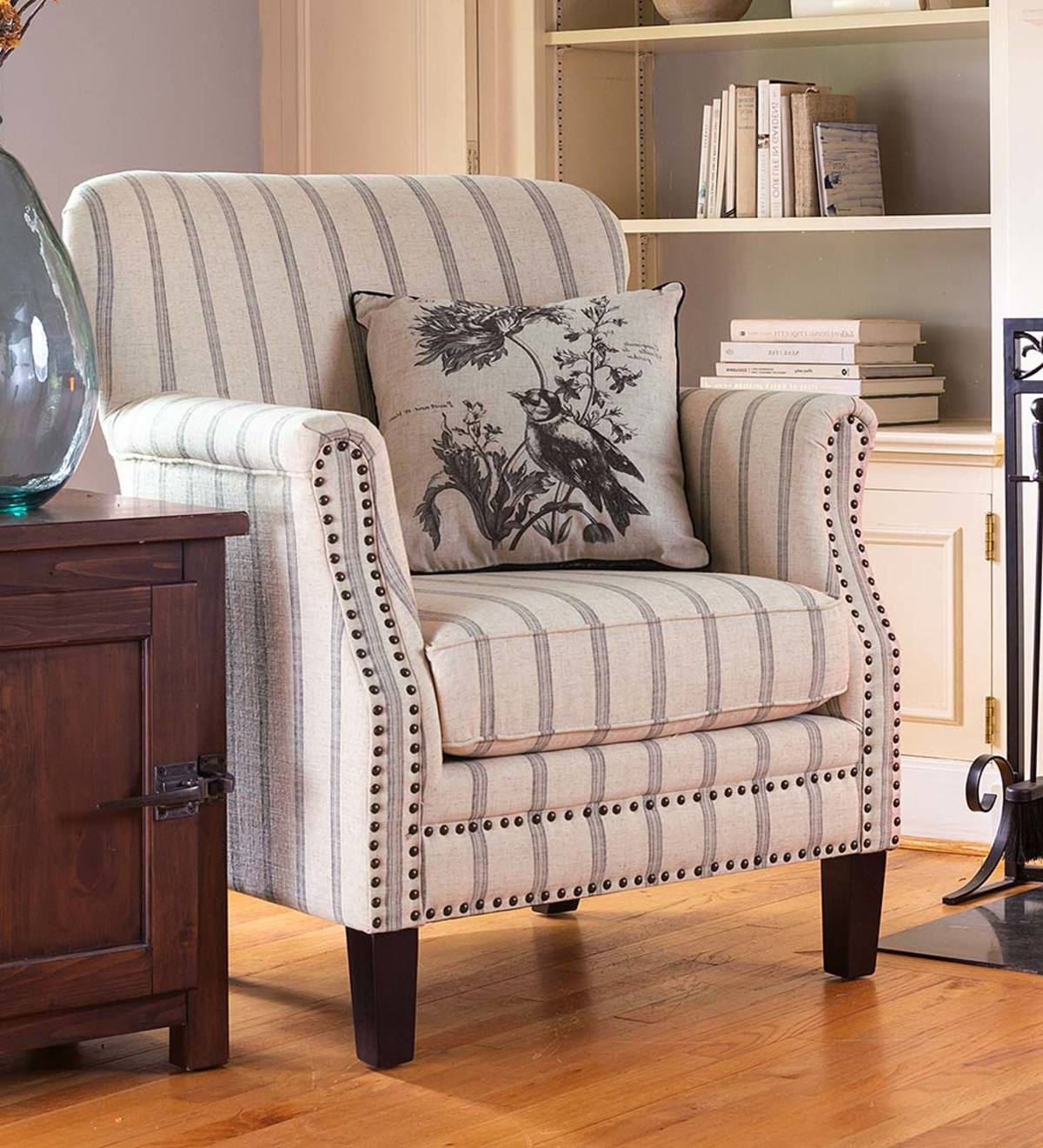 Classic Ticking Stripe Upholstered Club Chair Inside Current Sweetwater Wingback Chairs (View 20 of 20)