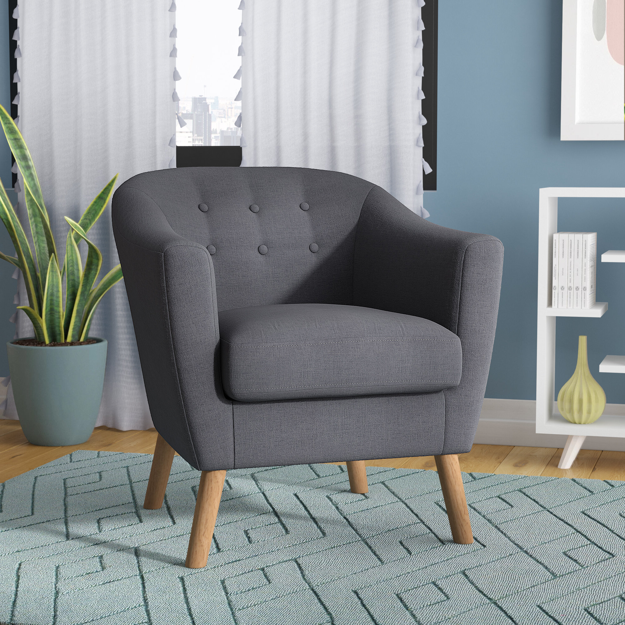 Claudel Polyester Blend Barrel Chairs Pertaining To Most Current Barrel Scandinavian Accent Chairs You'll Love In (View 7 of 20)