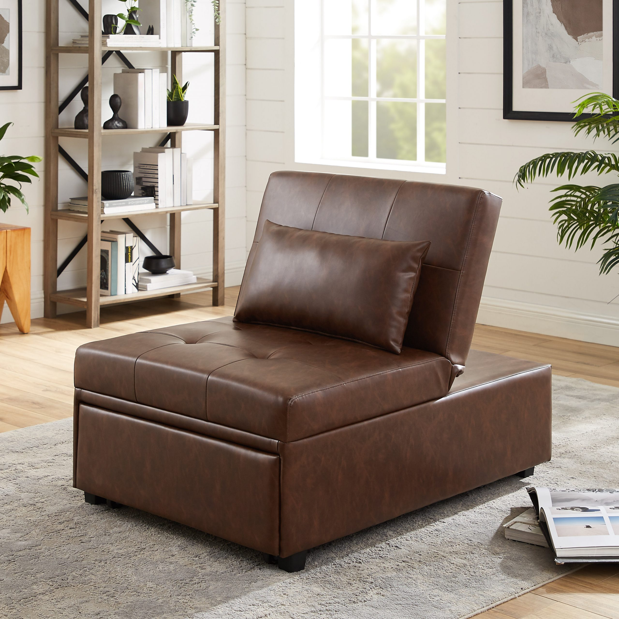 Convertible Solid Accent Chairs You'll Love In 2020 Regarding Popular Perz Tufted Faux Leather Convertible Chairs (View 12 of 20)
