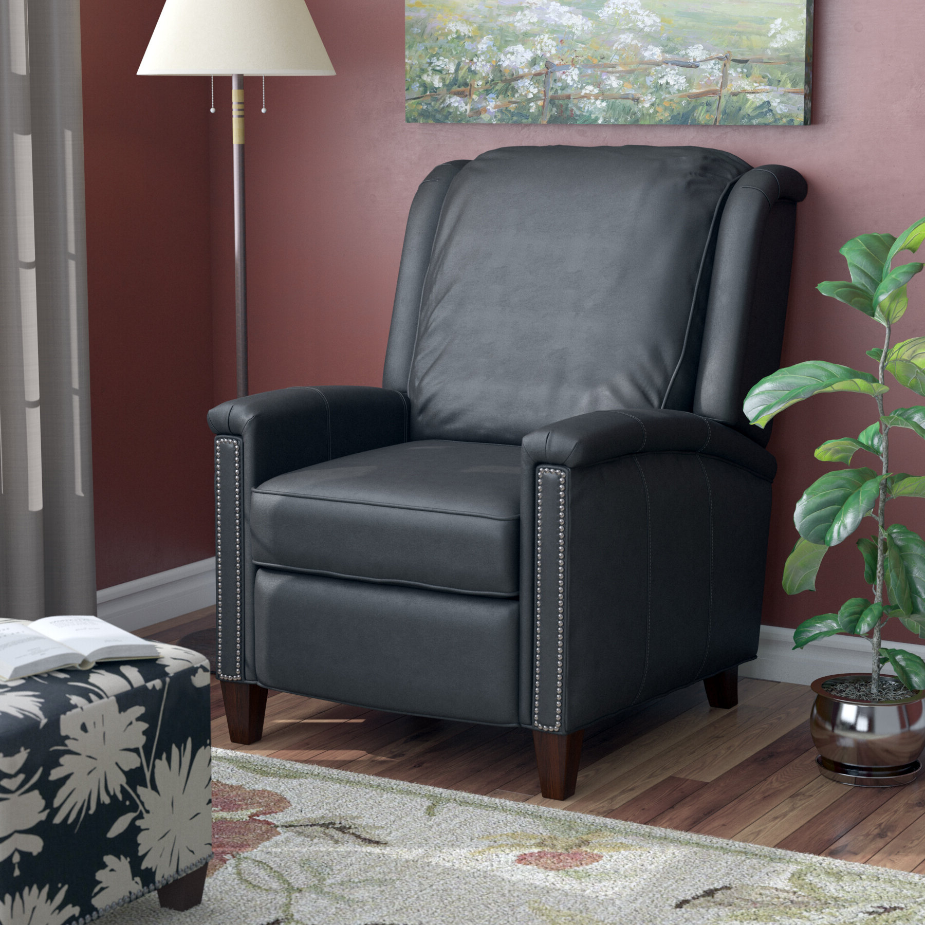 Coomer Faux Leather Barrel Chairs Pertaining To Latest Leather Manual Recliner (View 12 of 20)