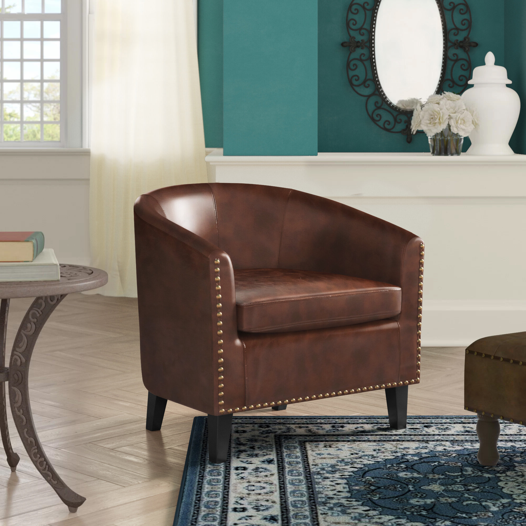 Coomer Faux Leather Barrel Chairs Pertaining To Well Known Brown Faux Leather Accent Chairs You'll Love In (View 11 of 20)