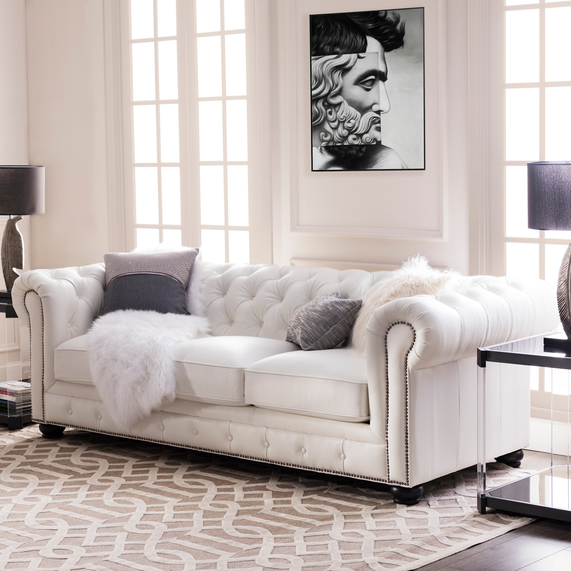 """Copper Grove Kasama Chesterfield White Leather Sofa – 95""""w X 40.5""""d X  (View 20 of 20)"""