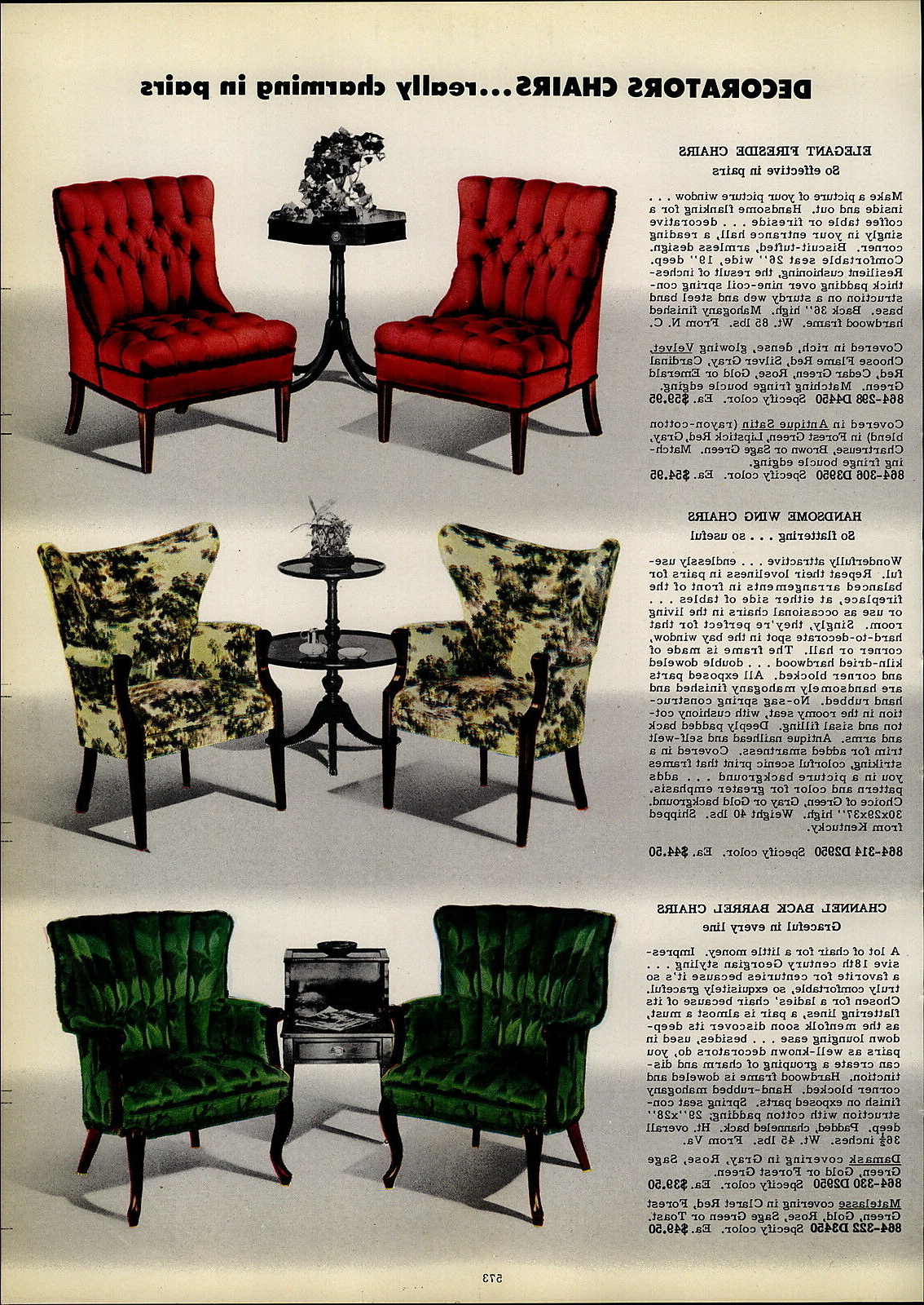 Current 1954 Paper Ad 3 Pg Vikon Chairs Chair Furniture Mid Century Intended For Ronda Barrel Chairs (View 20 of 20)