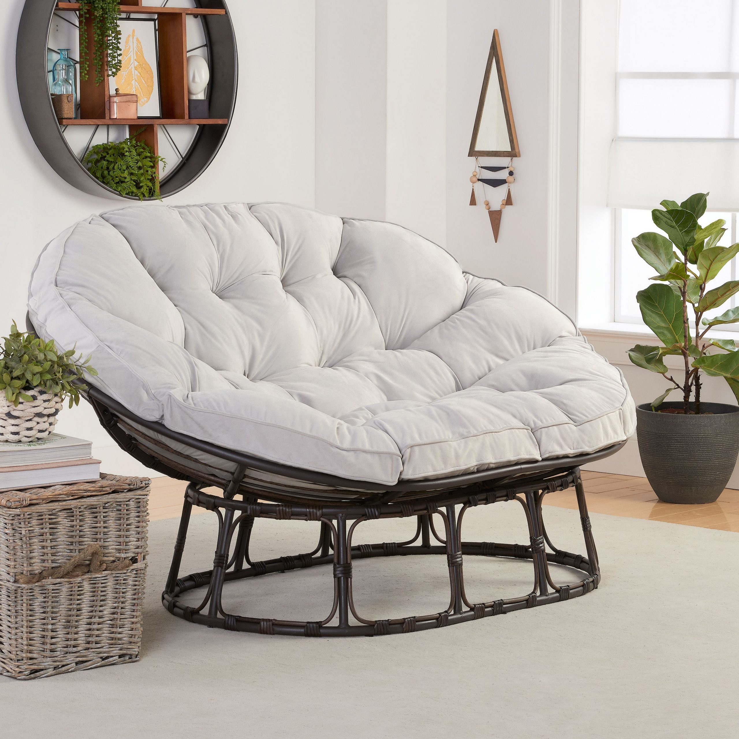 Current Decker Papasan Chairs Intended For Better Homes & Gardens Papasan Bench With Cushion, Pumice Gray – Walmart (View 11 of 20)