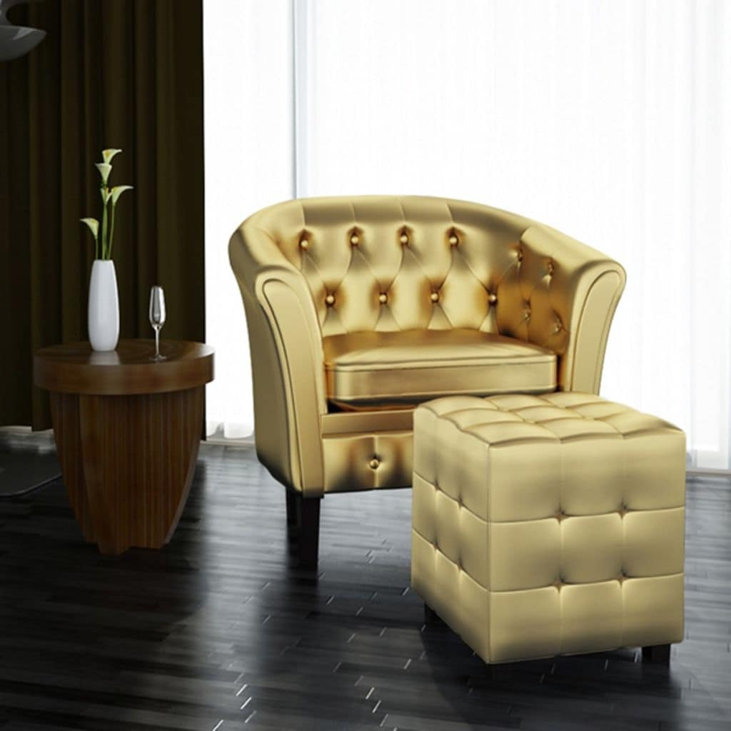 Current Faux Leather Barrel Chair And Ottoman Sets Pertaining To Vidaxl Tub Chair Brown Faux Leather (View 14 of 20)