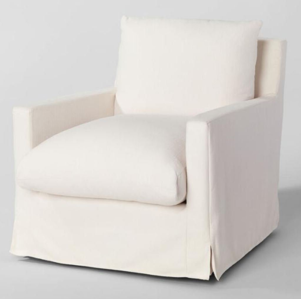 Current Feather Filled Swivel Brynn Armchair In Ivory – World Market/cost Plus Pertaining To Molinari Swivel Barrel Chairs (View 17 of 20)