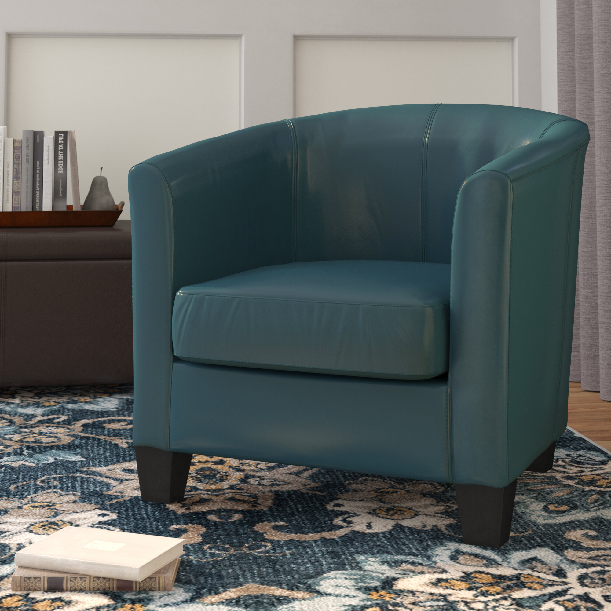 """Current Filton Barrel Chairs With Regard To Colden 30"""" W Faux Leather Barrel Chair (View 7 of 20)"""