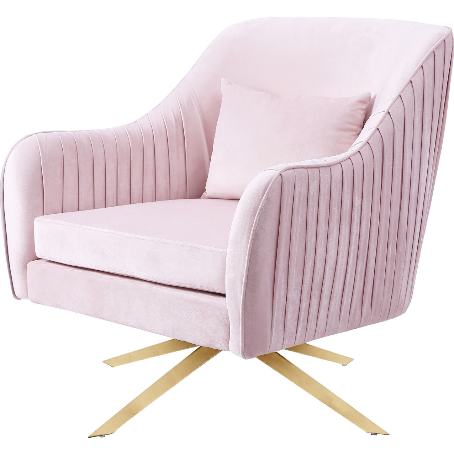 Current Indianola Modern Barrel Chairs Throughout Meridian Furniture 585pink Paloma Accent Chair Pink Velvet (View 17 of 20)