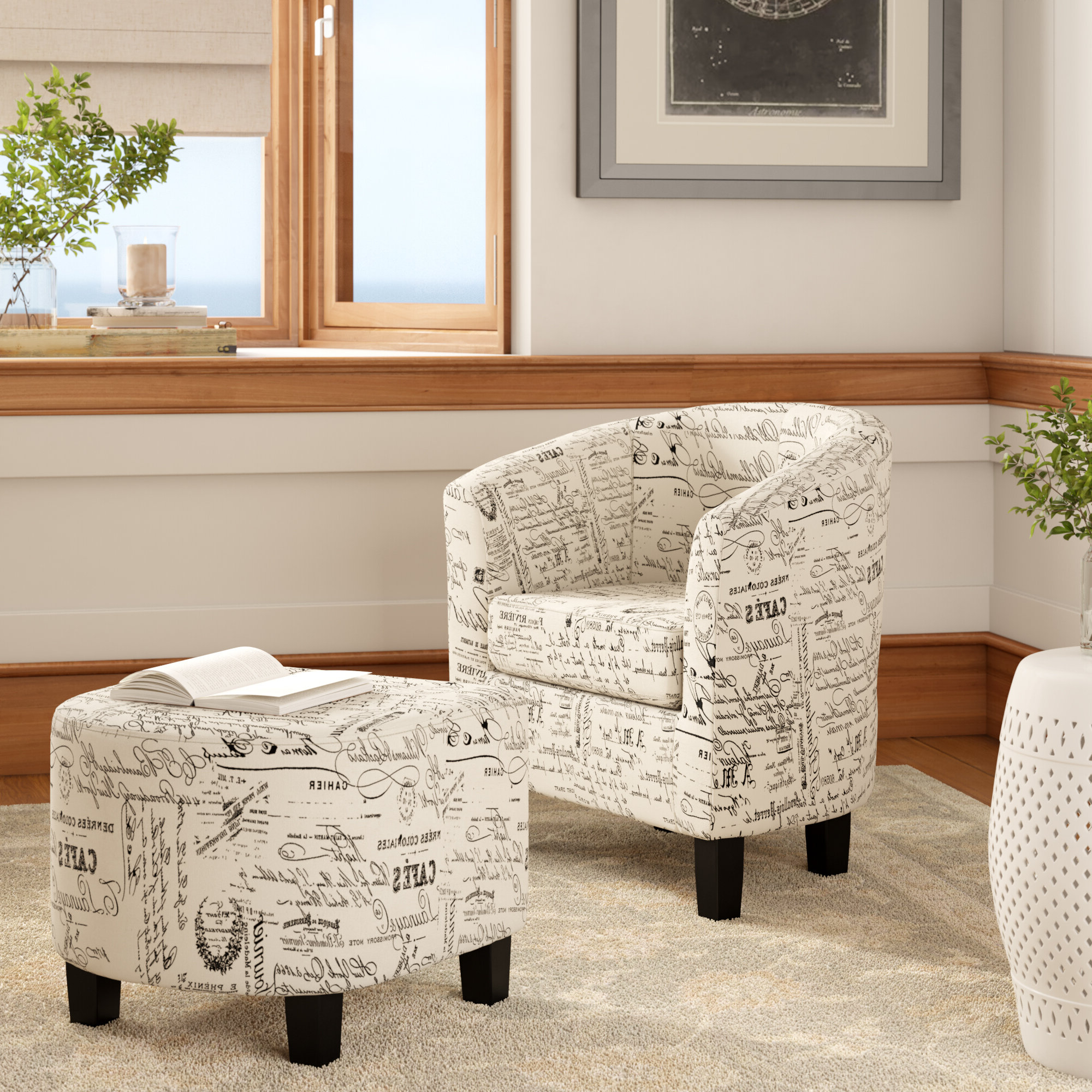 """Dario 22"""" W Polyester Slipper Chair And Ottoman Pertaining To Famous Jazouli Linen Barrel Chairs And Ottoman (View 7 of 20)"""