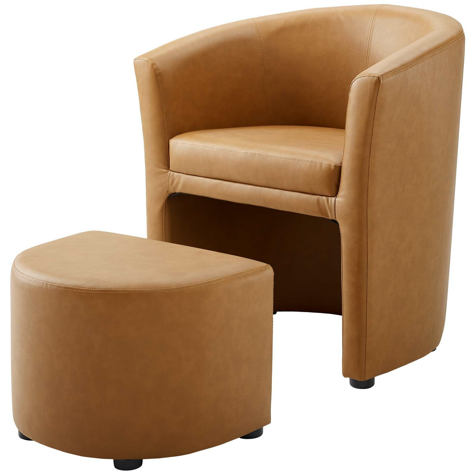 """Darvin 28"""" W Faux Leather Barrel Chair And Ottoman In Recent Faux Leather Barrel Chair And Ottoman Sets (View 7 of 20)"""
