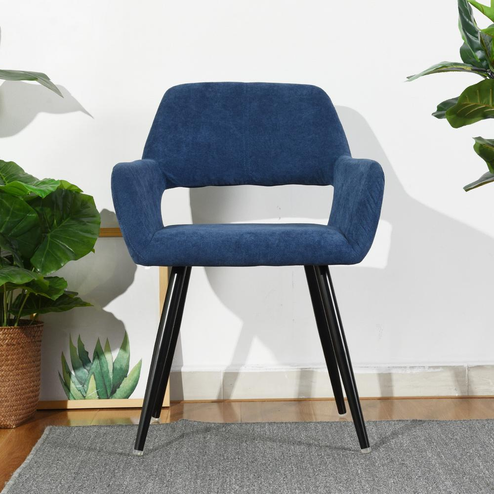 Daulton Velvet Side Chairs Intended For Well Known Furniturer Cromwell Blue Fabric Upholstered Hollow Design Armrest Side Chair Cromwell Dark Blue – The Home Depot (View 15 of 20)
