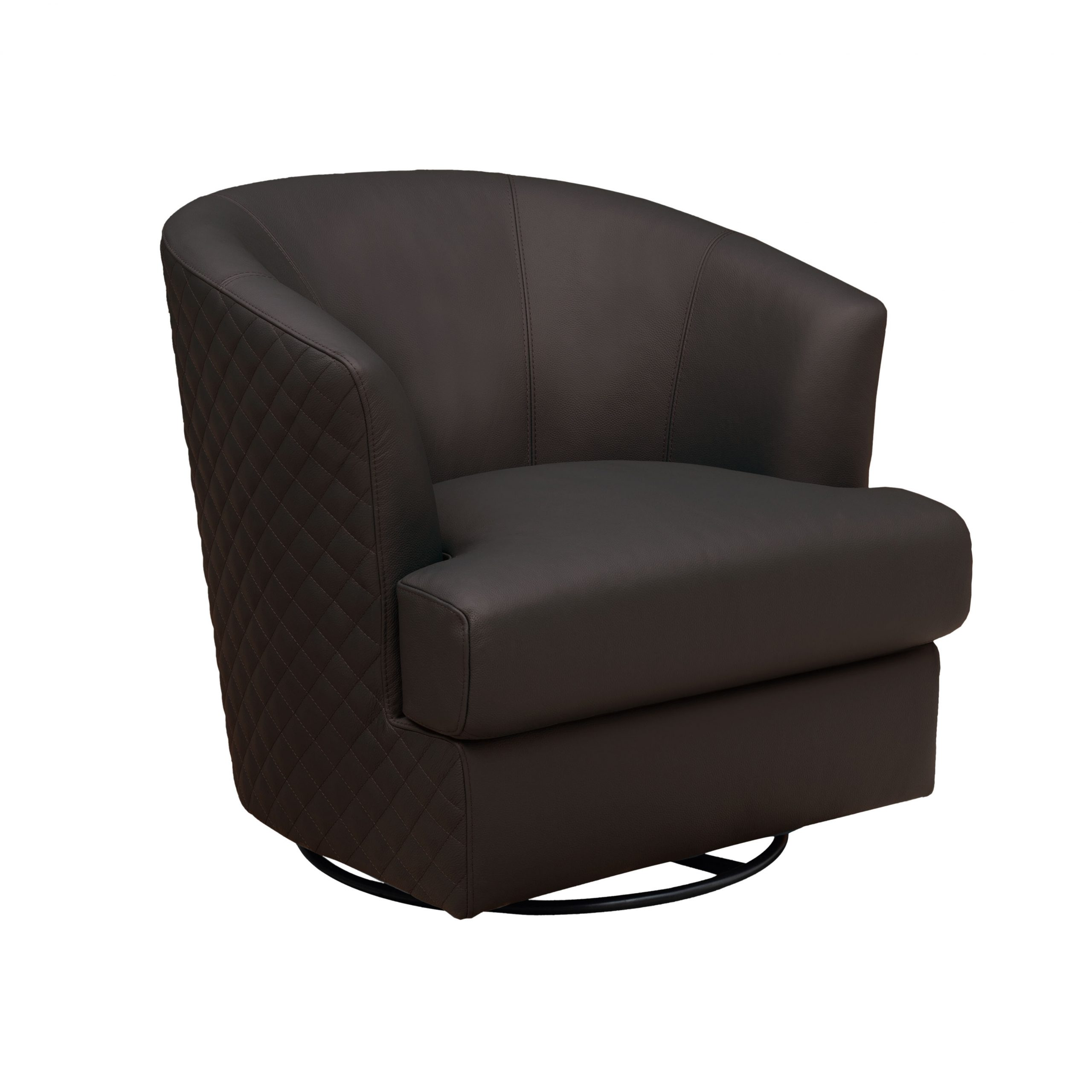 """Dely 32"""" W Leather Match Swivel Barrel Chair Inside Most Up To Date Molinari Swivel Barrel Chairs (View 14 of 20)"""