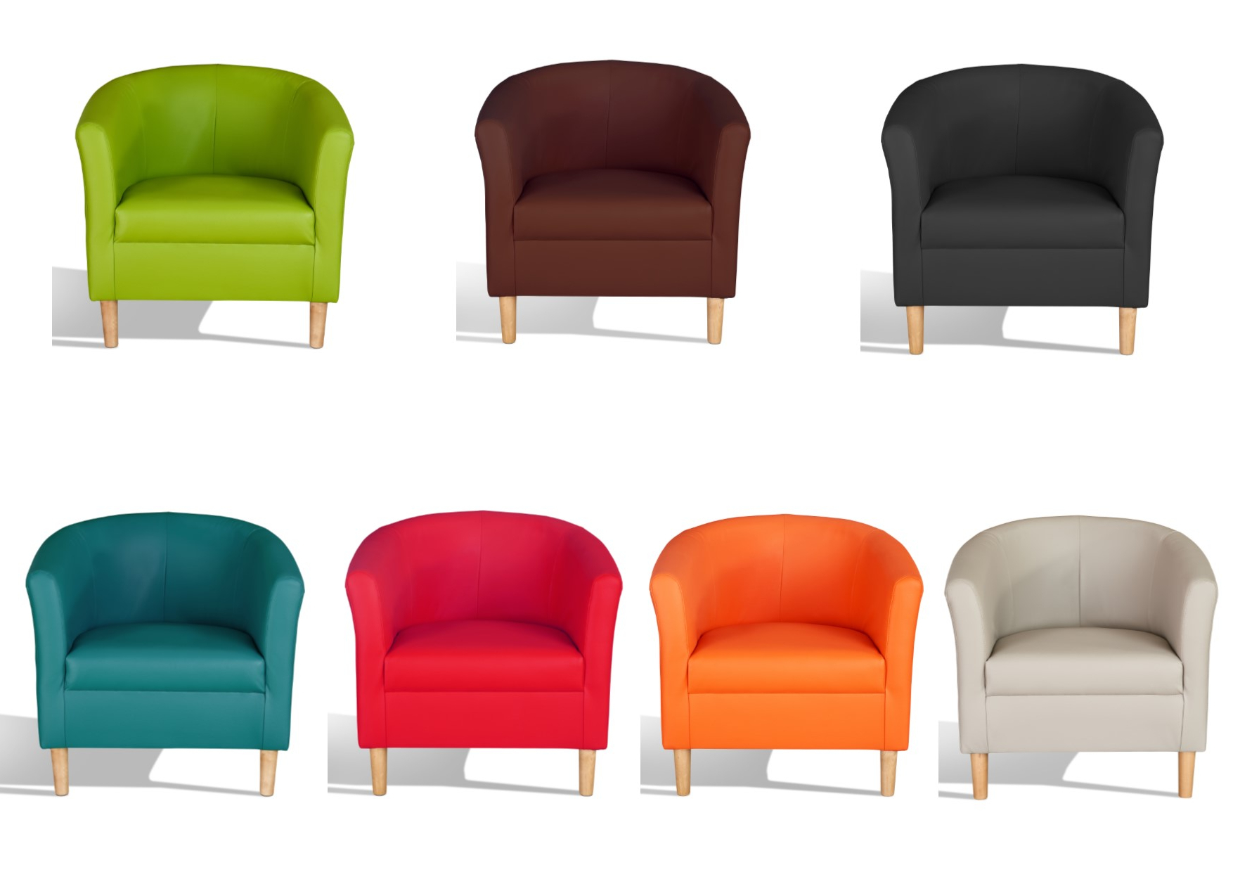 Details About Hamony Faux Leather Tub Chairs – Black, Mocha, Chestnut, Red, Teal, Green For Recent Montenegro Faux Leather Club Chairs (View 5 of 20)