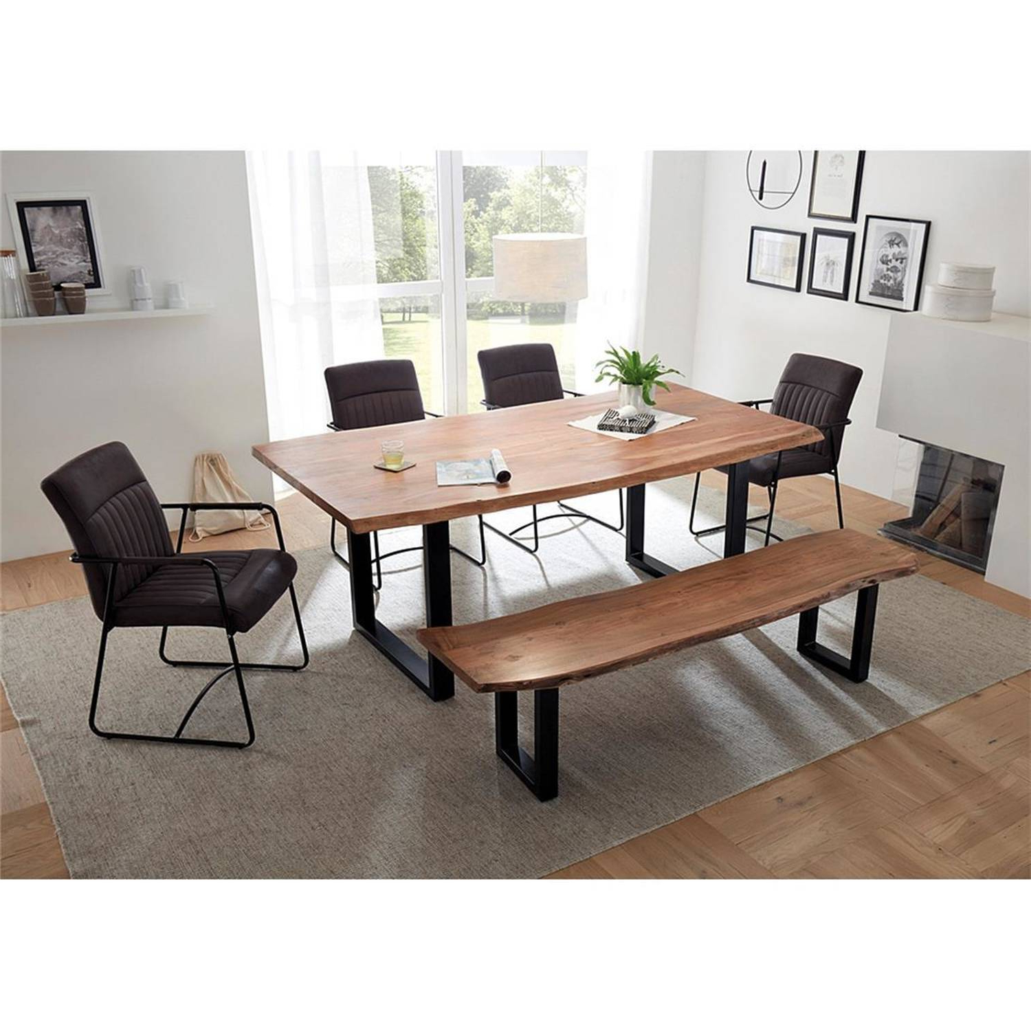 Dining Set Amsterdam 119 Consisting Of Table And Bench Made Of Solid Acacia With Tree Edge, Armchairs With Artificial Leather In Gray Pertaining To Fashionable Popel Armchairs (View 13 of 20)