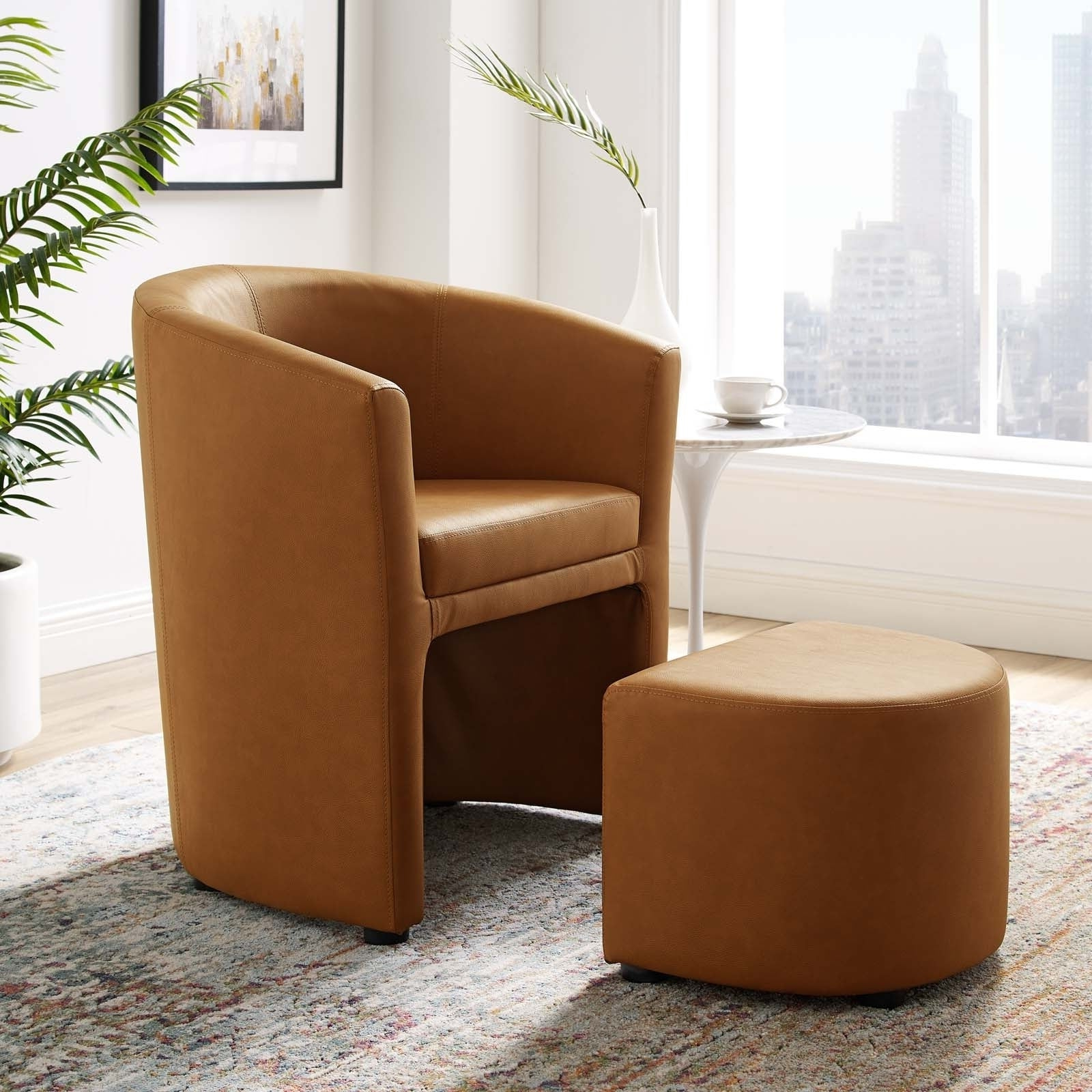 Divulge Modern Leatherette Armchair And Ottoman In Latest Modern Armchairs And Ottoman (View 16 of 20)