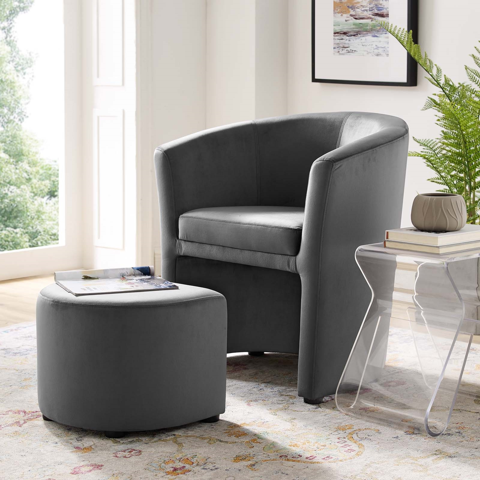 Divulge Performance Velvet Arm Chair And Ottoman Set Within Well Known Modern Armchairs And Ottoman (View 7 of 20)