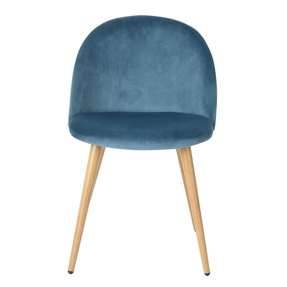 Erasmus Velvet Side Chairs (set Of 2) Pertaining To Newest Furniturer Zomba Blue Velvet Dining Chair (set Of 2) Zomba (View 9 of 20)