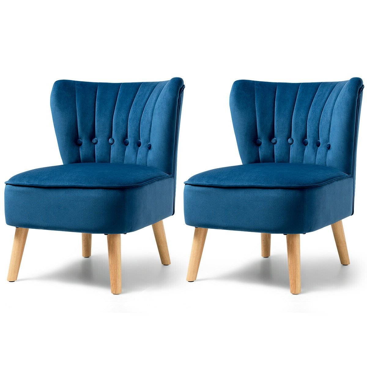 Erasmus Velvet Side Chairs (set Of 2) Throughout Widely Used Gymax 2pcs Accent Chair Armless Leisure Chair Single Sofa W (View 15 of 20)