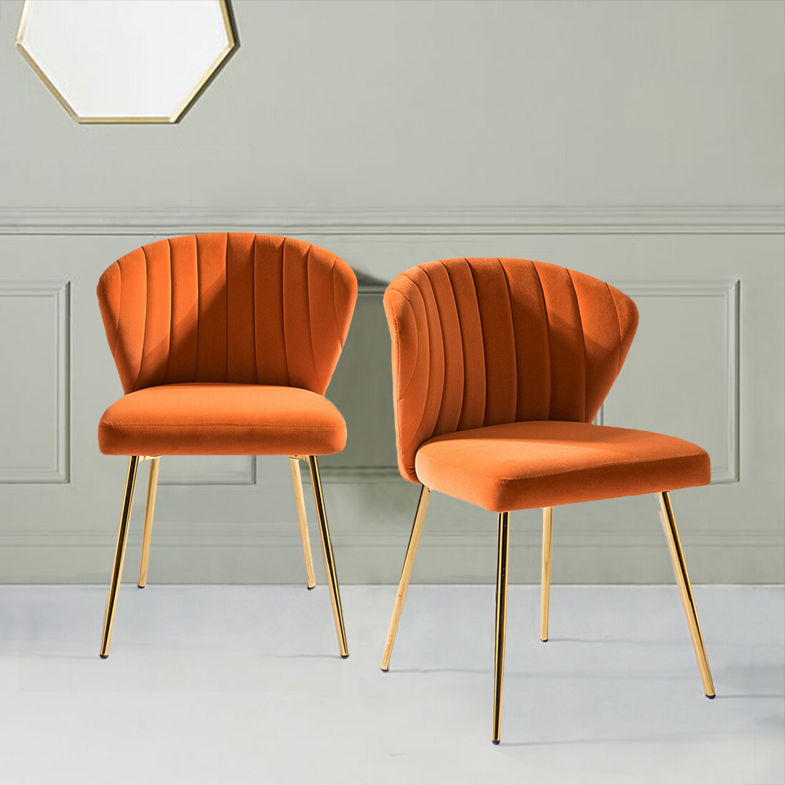Esmund Side Chairs (set Of 2) For Most Popular Orange & White Accent Chairs You'll Love In (View 5 of 20)