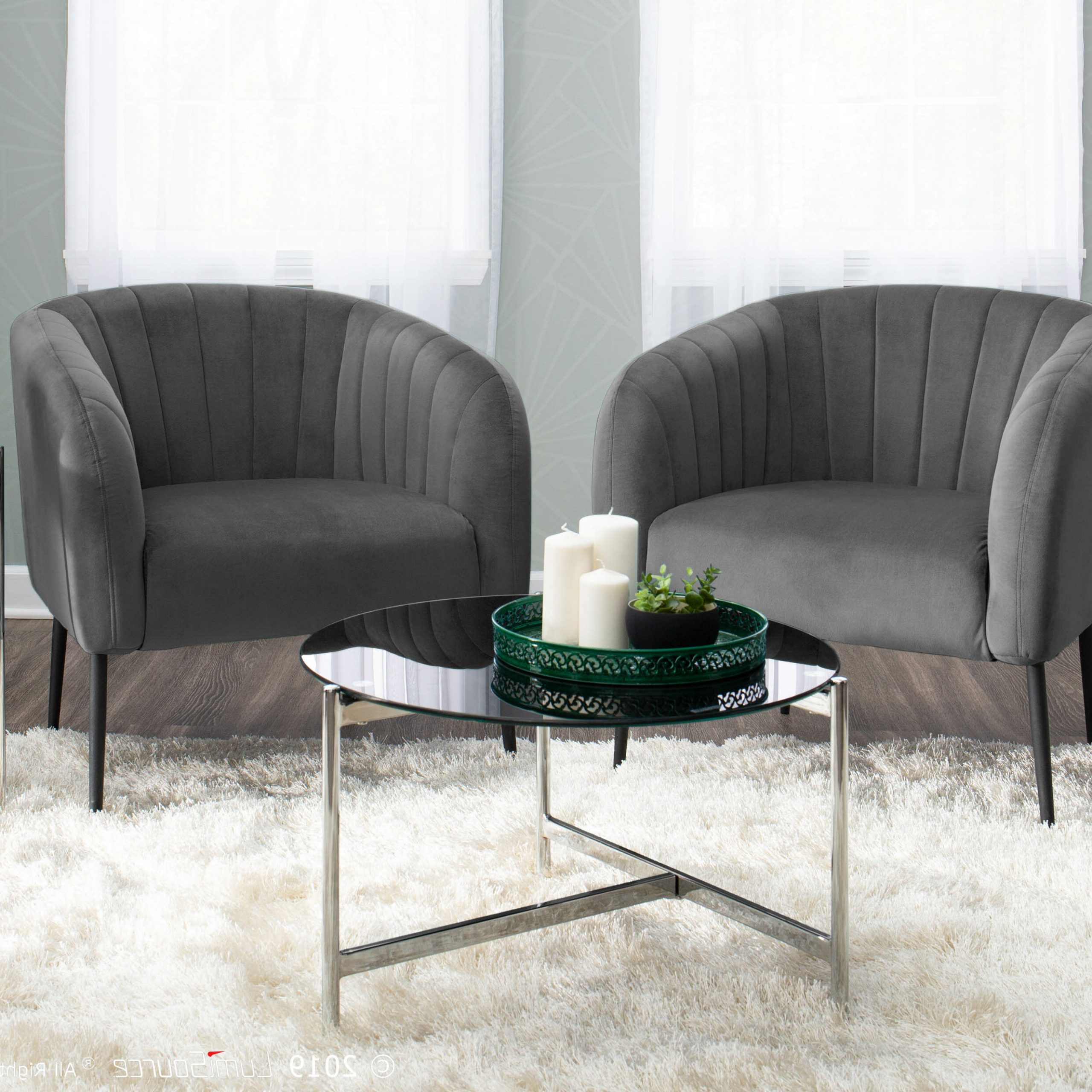 Evanoff Barrel Chair With Best And Newest Barnard Polyester Barrel Chairs (View 8 of 20)