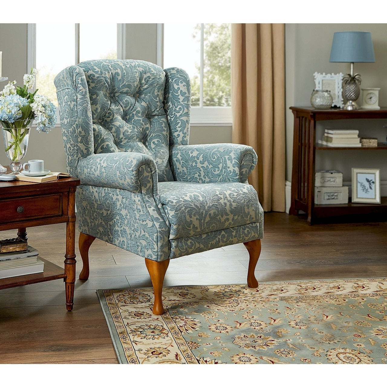 Famous 2 Piece Suite Offer – Bespoke Handmade Button Back Queen Anne Sofa And One  Armchair Regarding Portmeirion Armchairs (View 2 of 20)