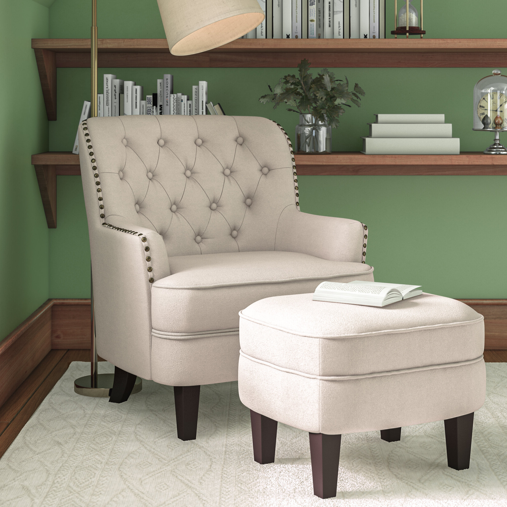 """Famous Dario 22"""" W Polyester Slipper Chair And Ottoman Within Starks Tufted Fabric Chesterfield Chair And Ottoman Sets (View 7 of 20)"""
