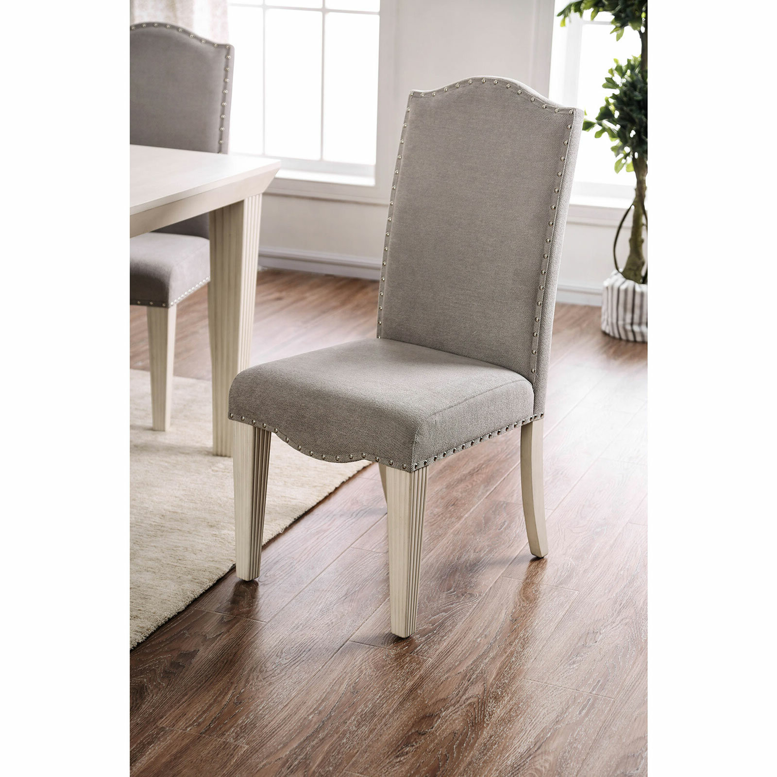 Famous Dunphy Upholstered Dining Chair In Gray/antique White With Bob Stripe Upholstered Dining Chairs (set Of 2) (View 16 of 20)