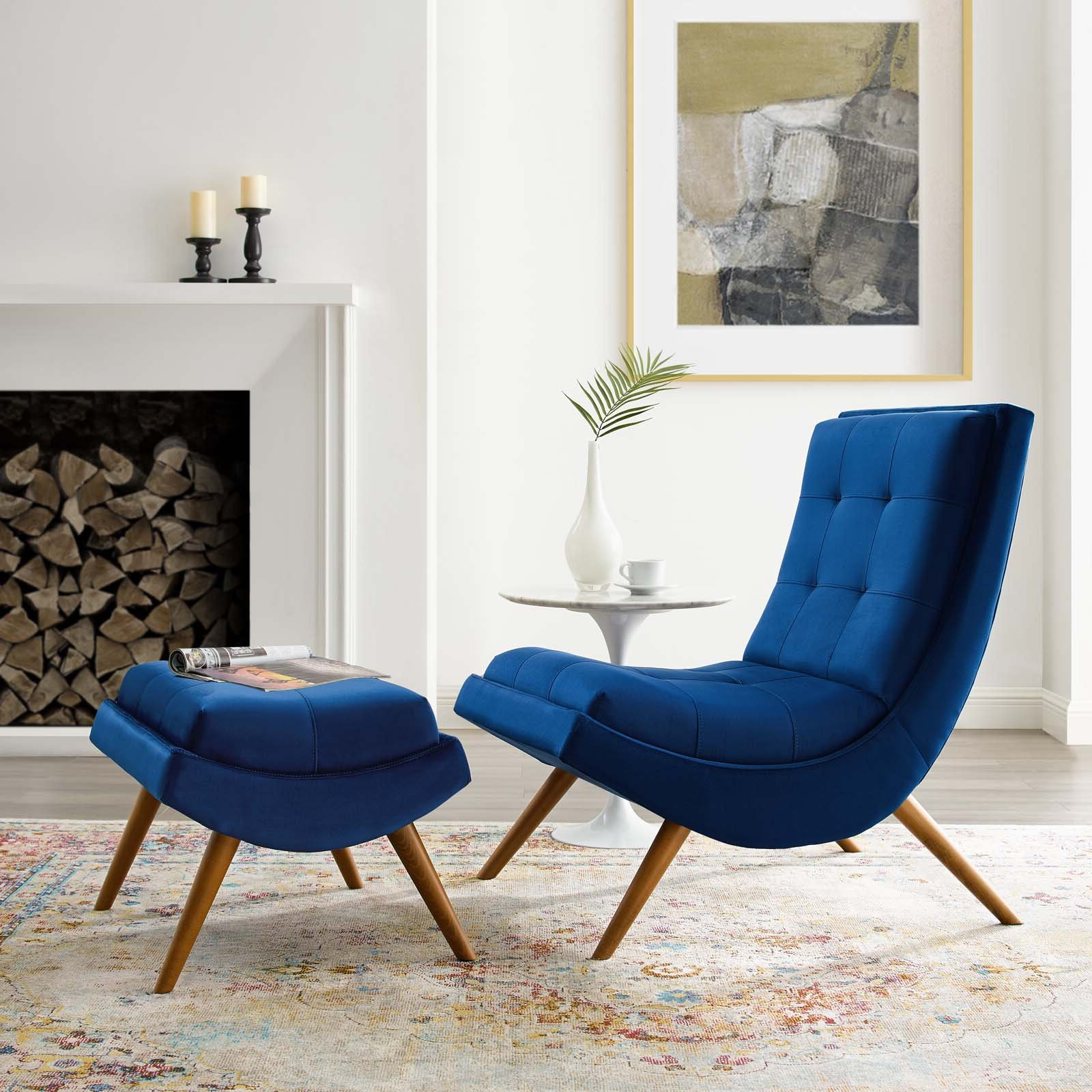 Famous Hallsville Performance Velvet Armchairs And Ottoman With Navy Ottoman Included Accent Chairs You'll Love In  (View 3 of 20)