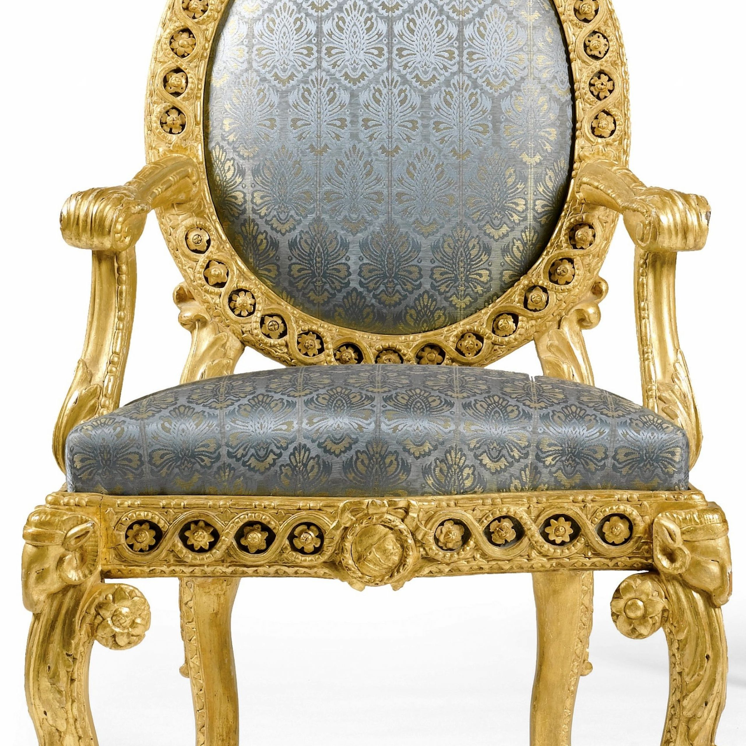 Famous Oglesby Armchairs Inside A Pair Of Italian Carved Giltwood And Painted Armchairs (View 16 of 20)
