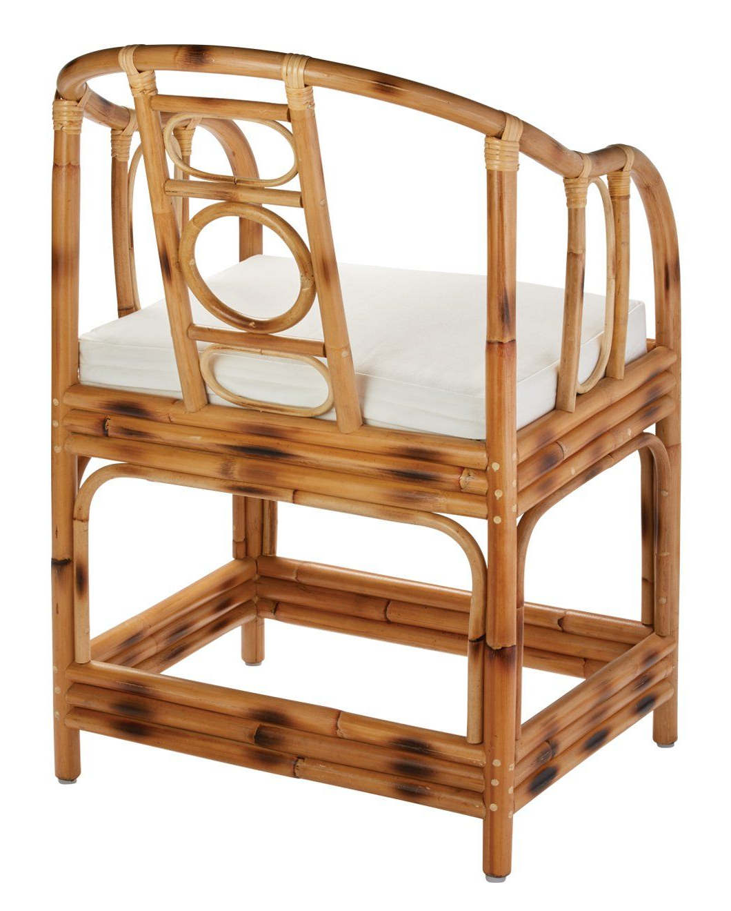 Famous Orndorff Tufted Papasan Chairs Intended For Malacca Round Back Arm Chair In Burnt Tortoiseshell Rattan (View 17 of 20)