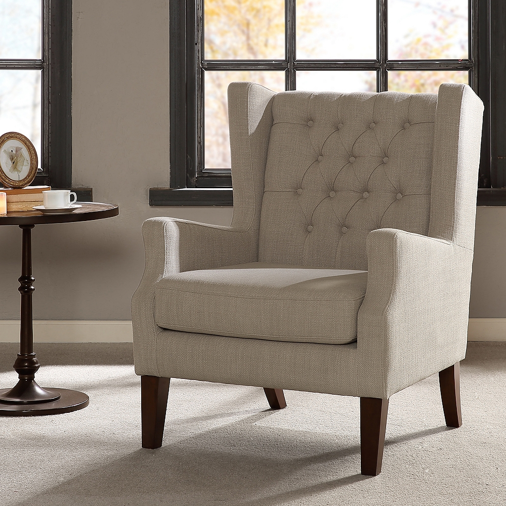 Famous Roan Linen Wingback Button Tufted Accent Chair – Style # 82w86 Regarding Galesville Tufted Polyester Wingback Chairs (View 13 of 20)
