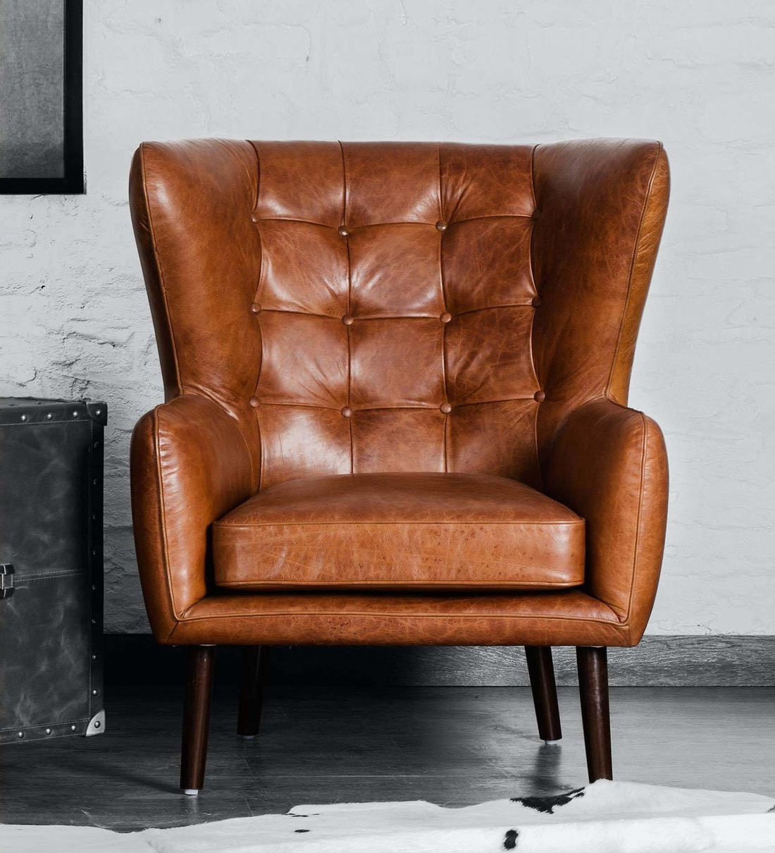Fashionable Dorcaster Barrel Chairs Pertaining To Dorchester Wing Chair In Vintage Brown Colour (View 6 of 20)