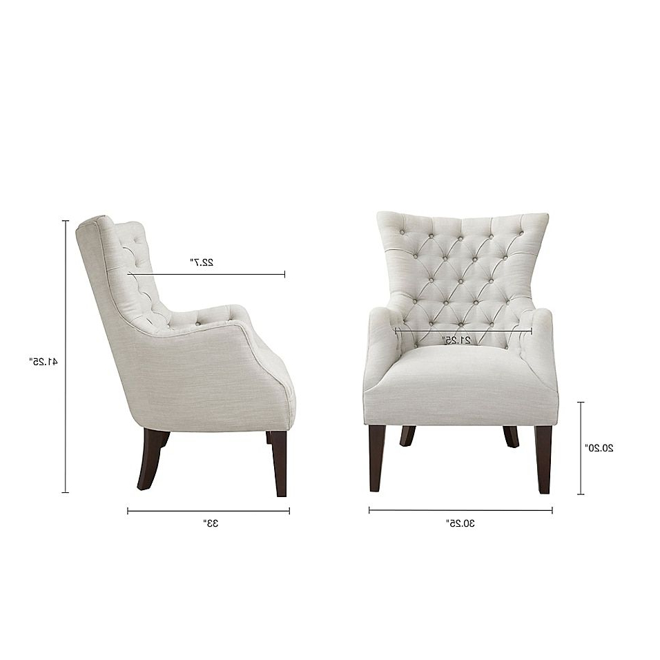 Fashionable Galesville Tufted Polyester Wingback Chairs With Regard To Madison Park Hannah Button Tufted Wing Back Chair In Ivory (View 14 of 20)
